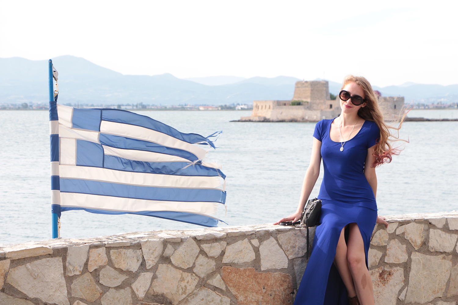 nafplio greek flag cobalt blue dress