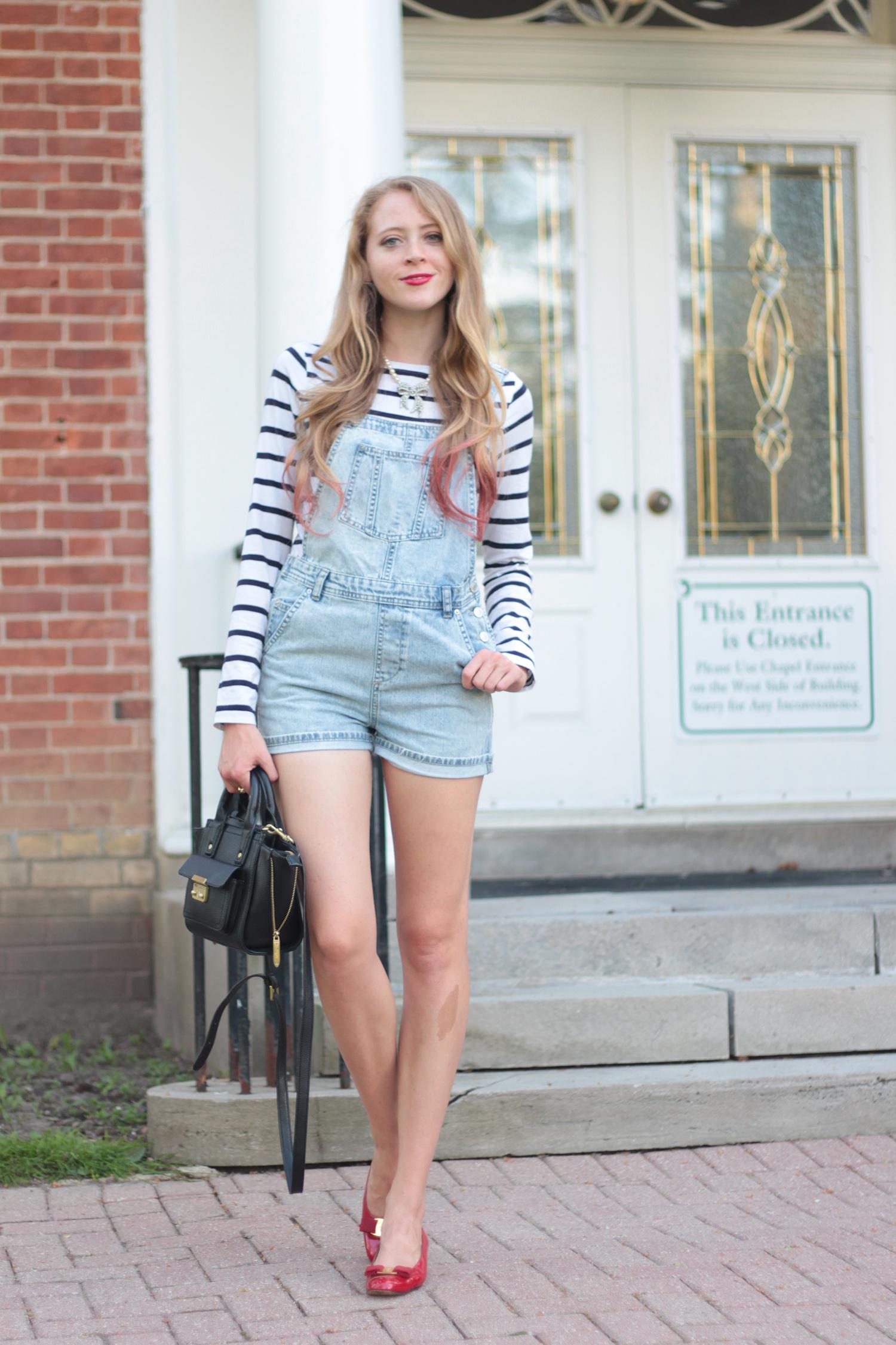 striped shirt denim overalls