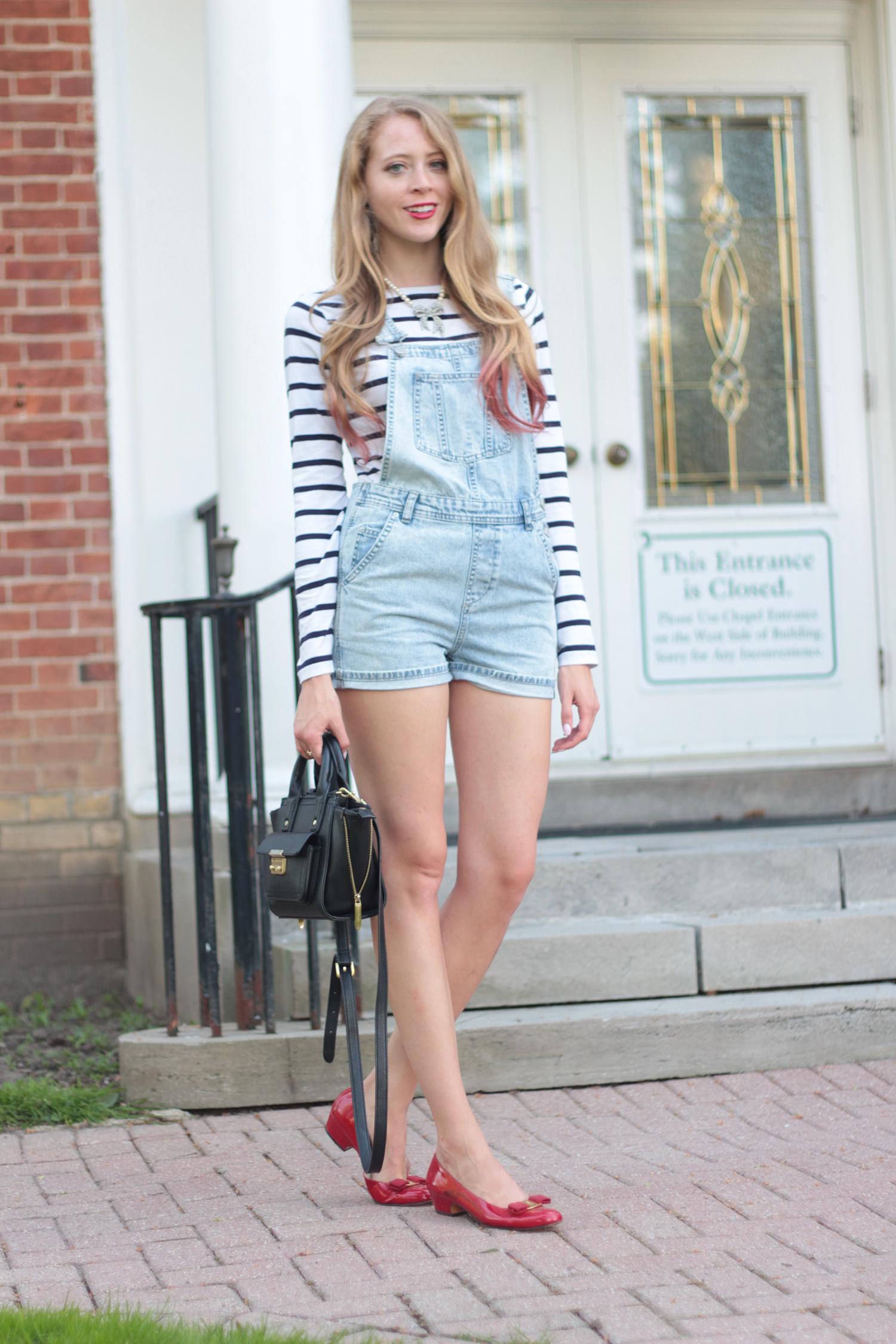striped shirt topshop denim overalls