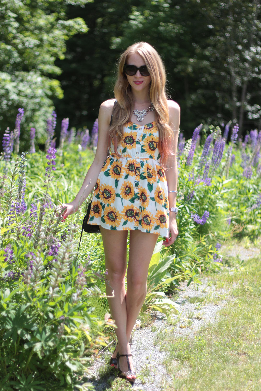 sunflower print romper rebecca minkoff purse