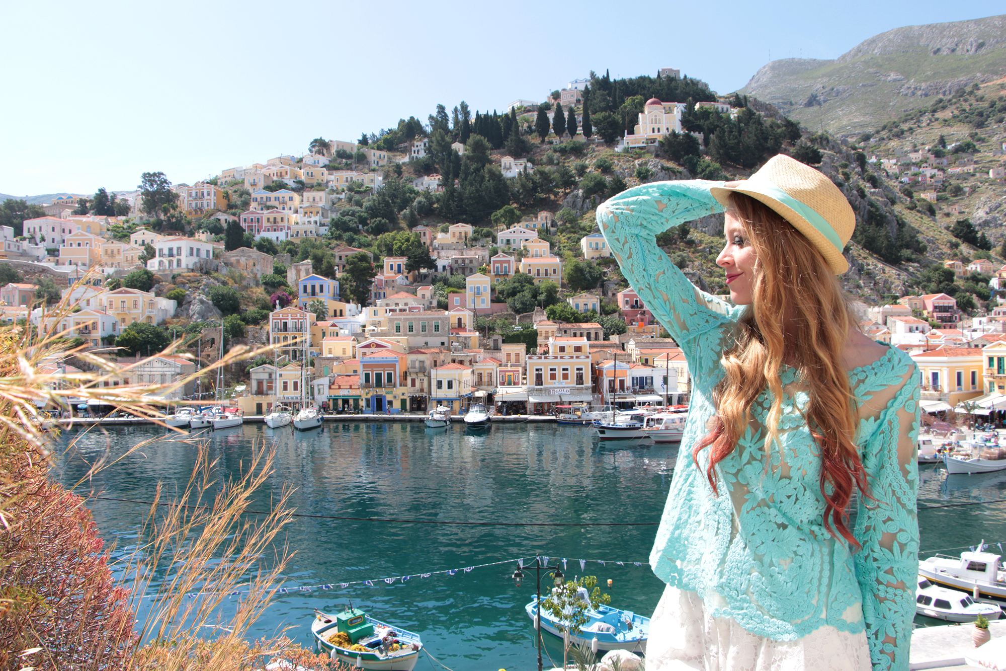 symi greece outfit mint fedora and crochet lace top