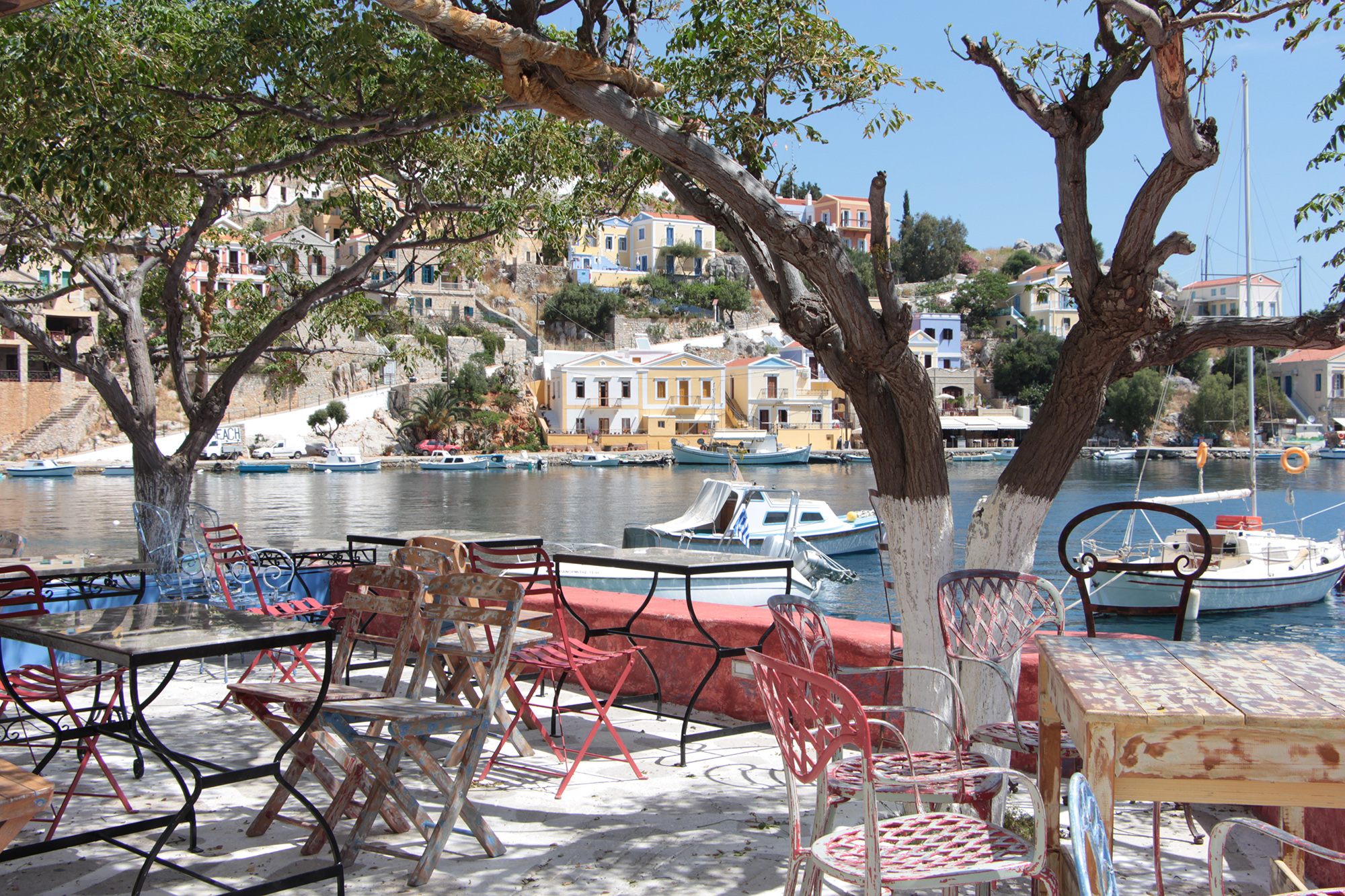 symi greece restaurant by water