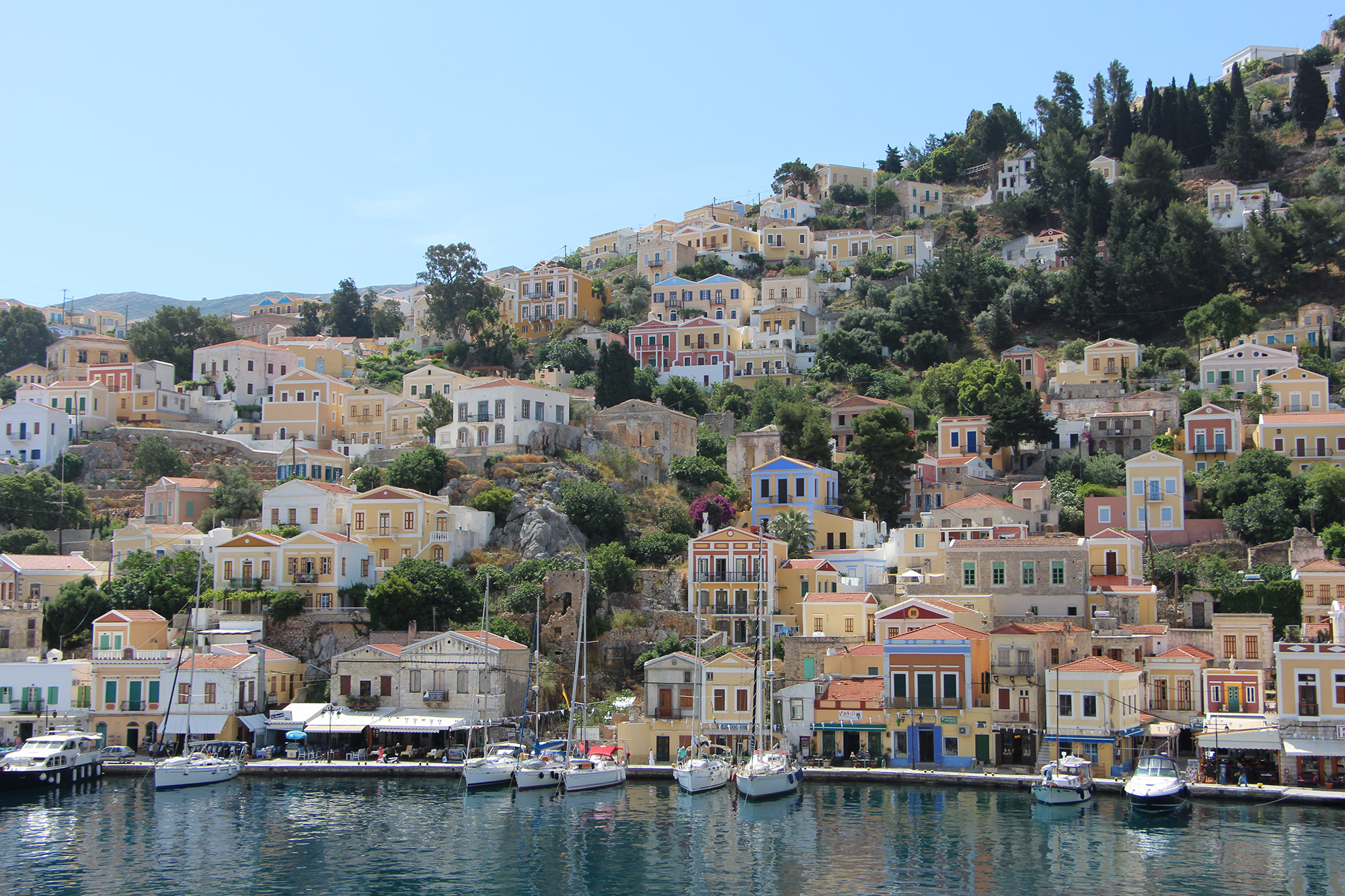 symi port colourful houses