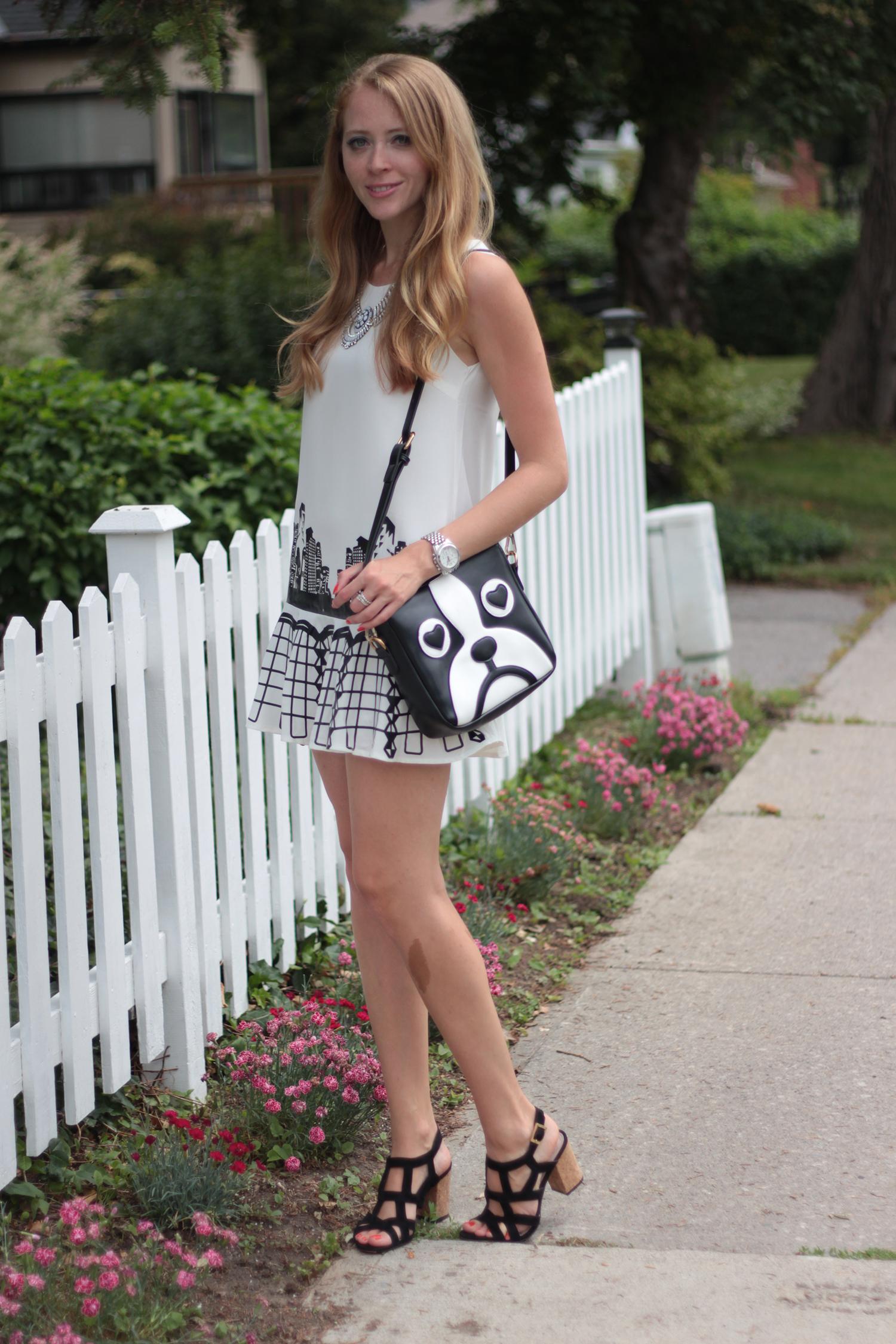 black and white peplum dress skyline