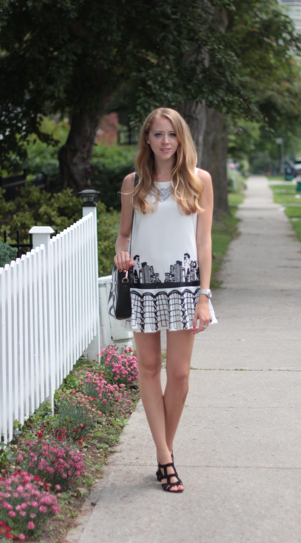black and white skyline dress