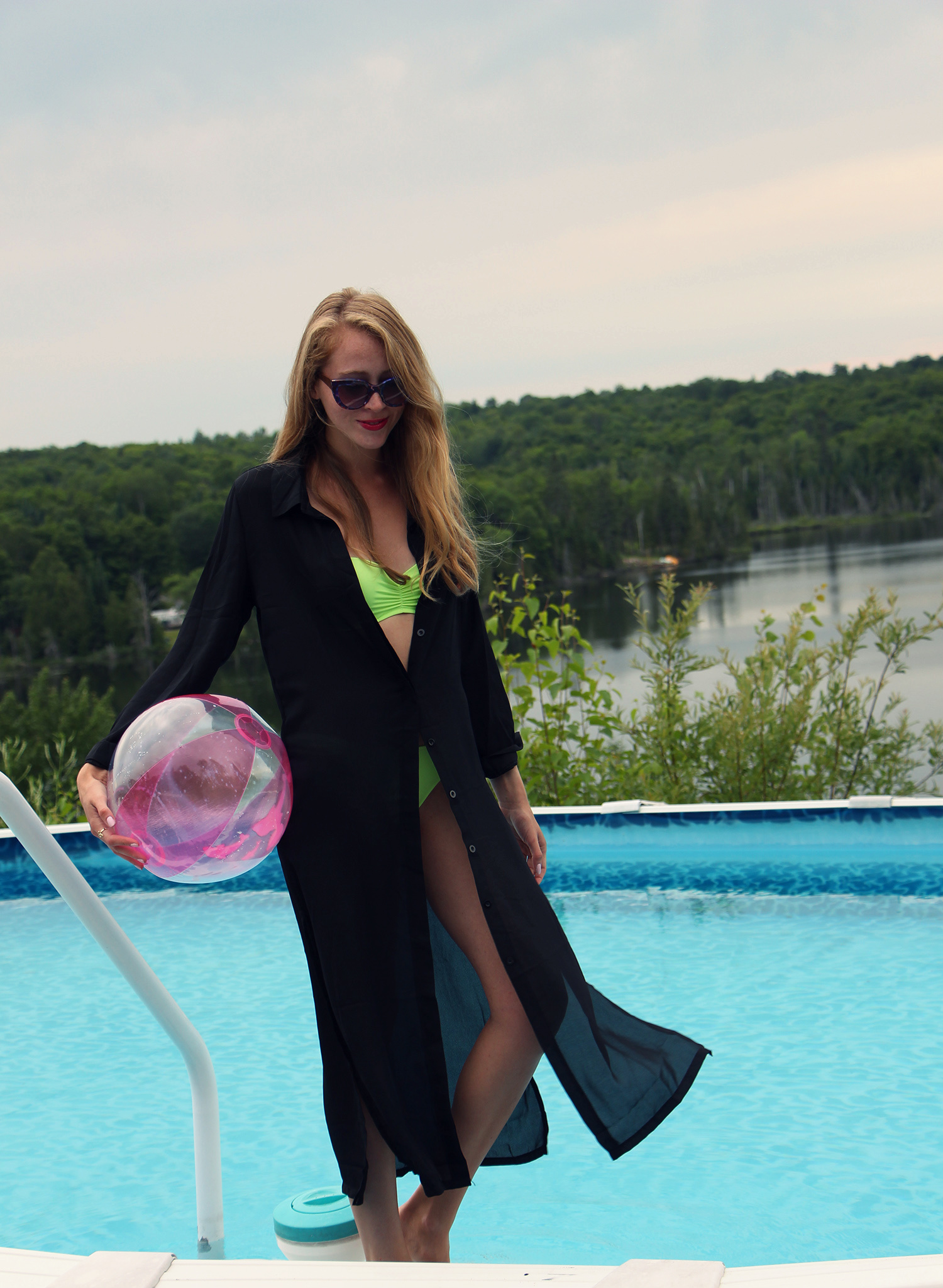 black chiffon beach coverup pink beach ball