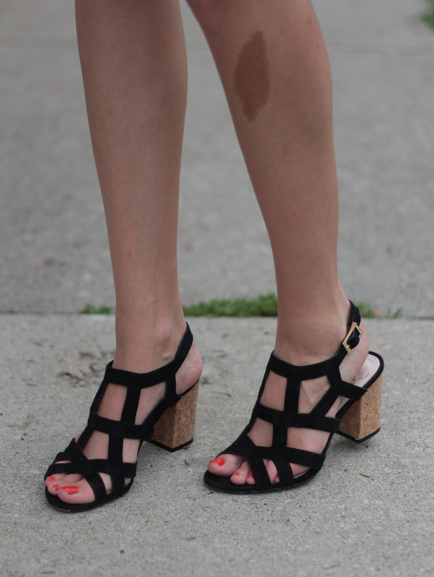 black suede cage sandals cork heel