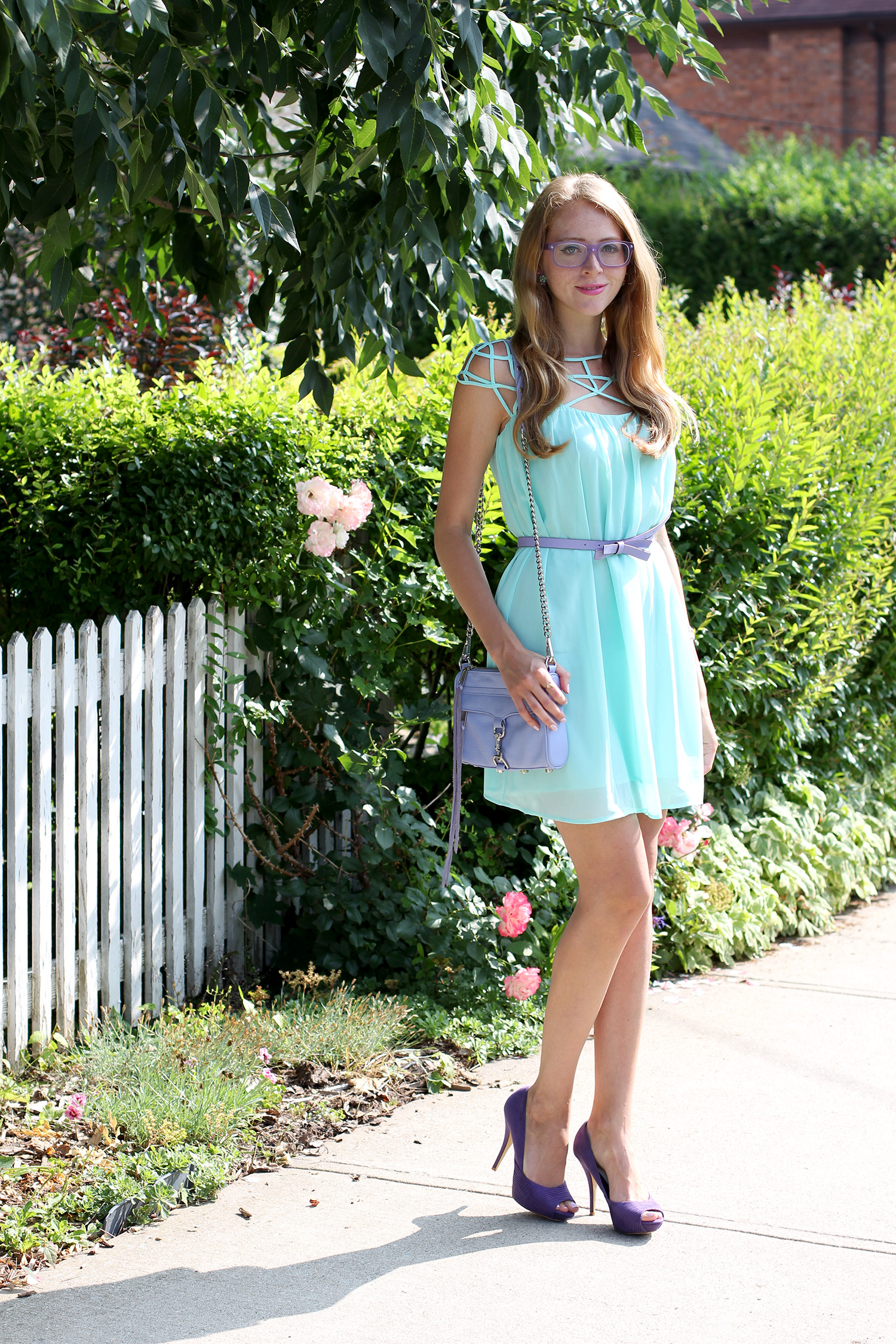 chicwish mint cage chiffon dress
