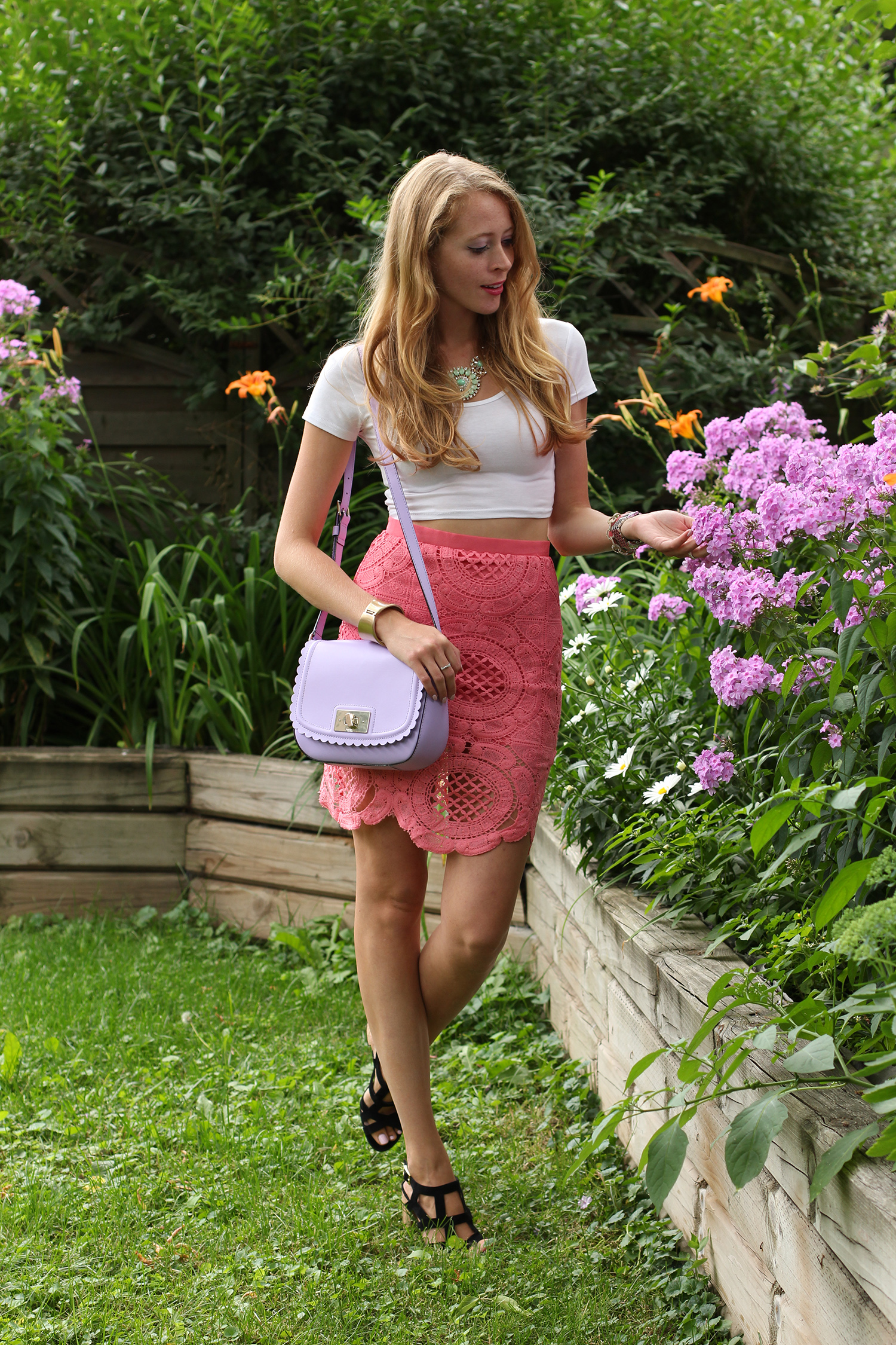 coral crochet lace skirt chicwish