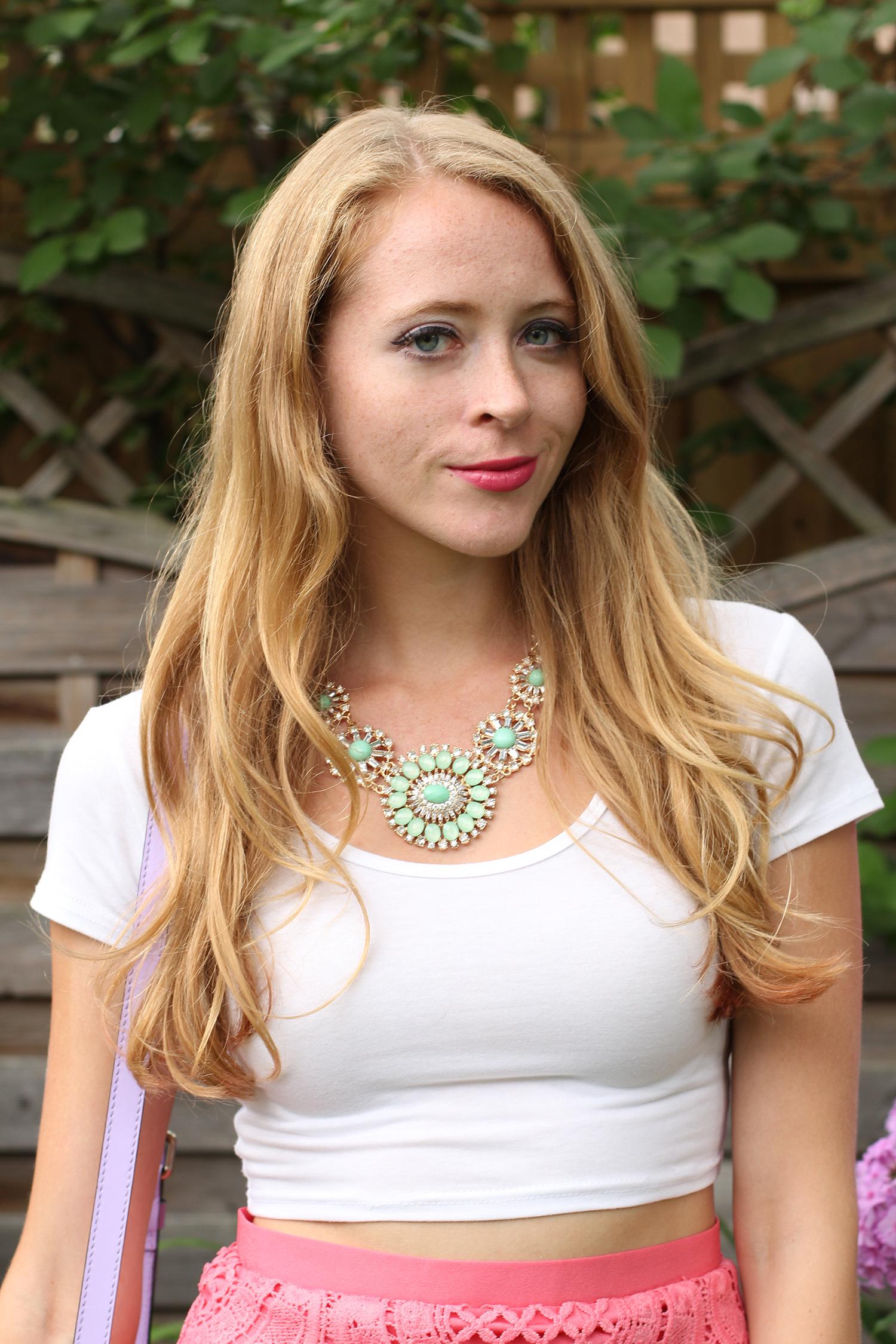 crop top mint statement necklace