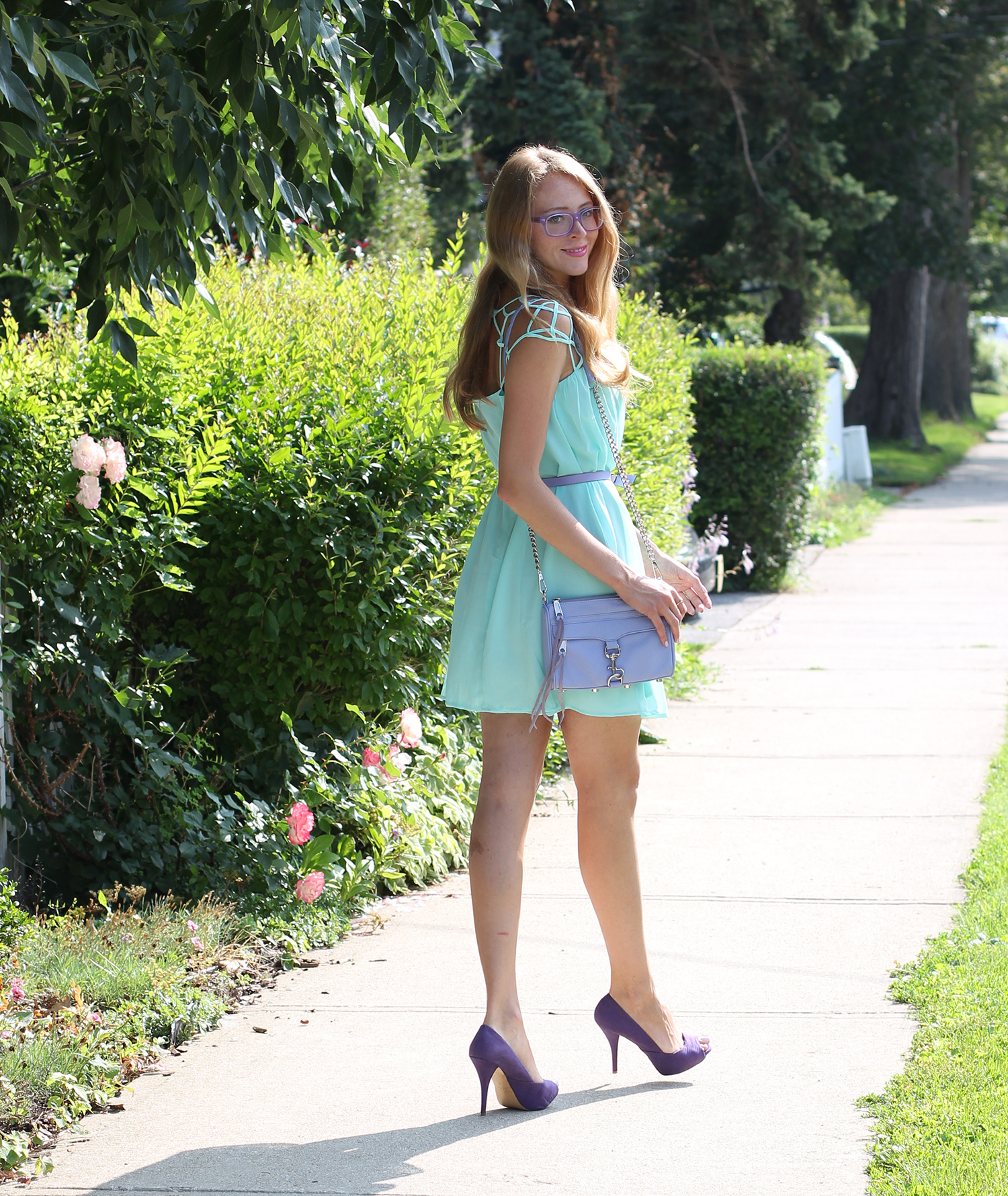 mint cage chiffon dress