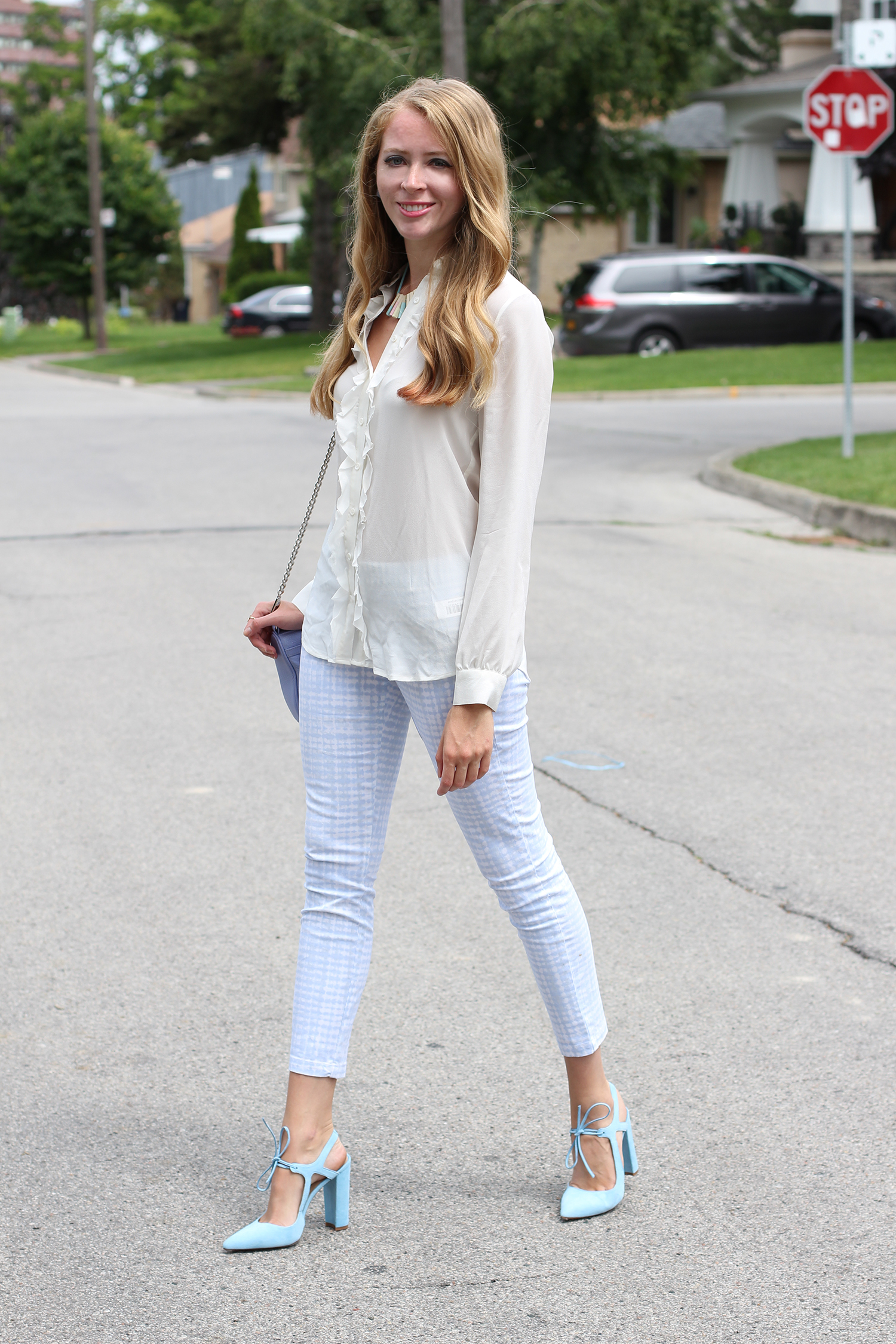periwinkle gingham pants white blouse