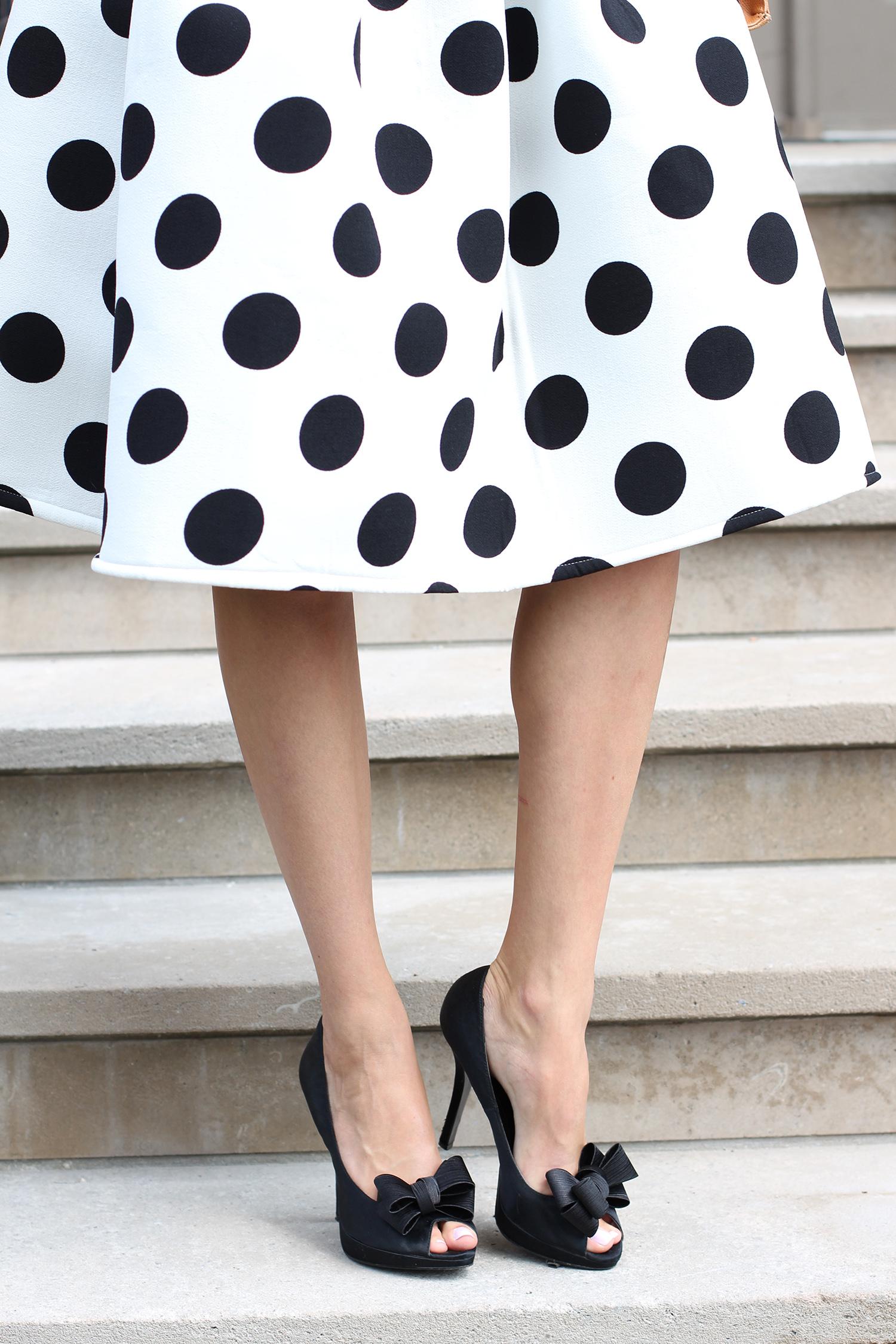 polka dot skirt bow peep toe pumps