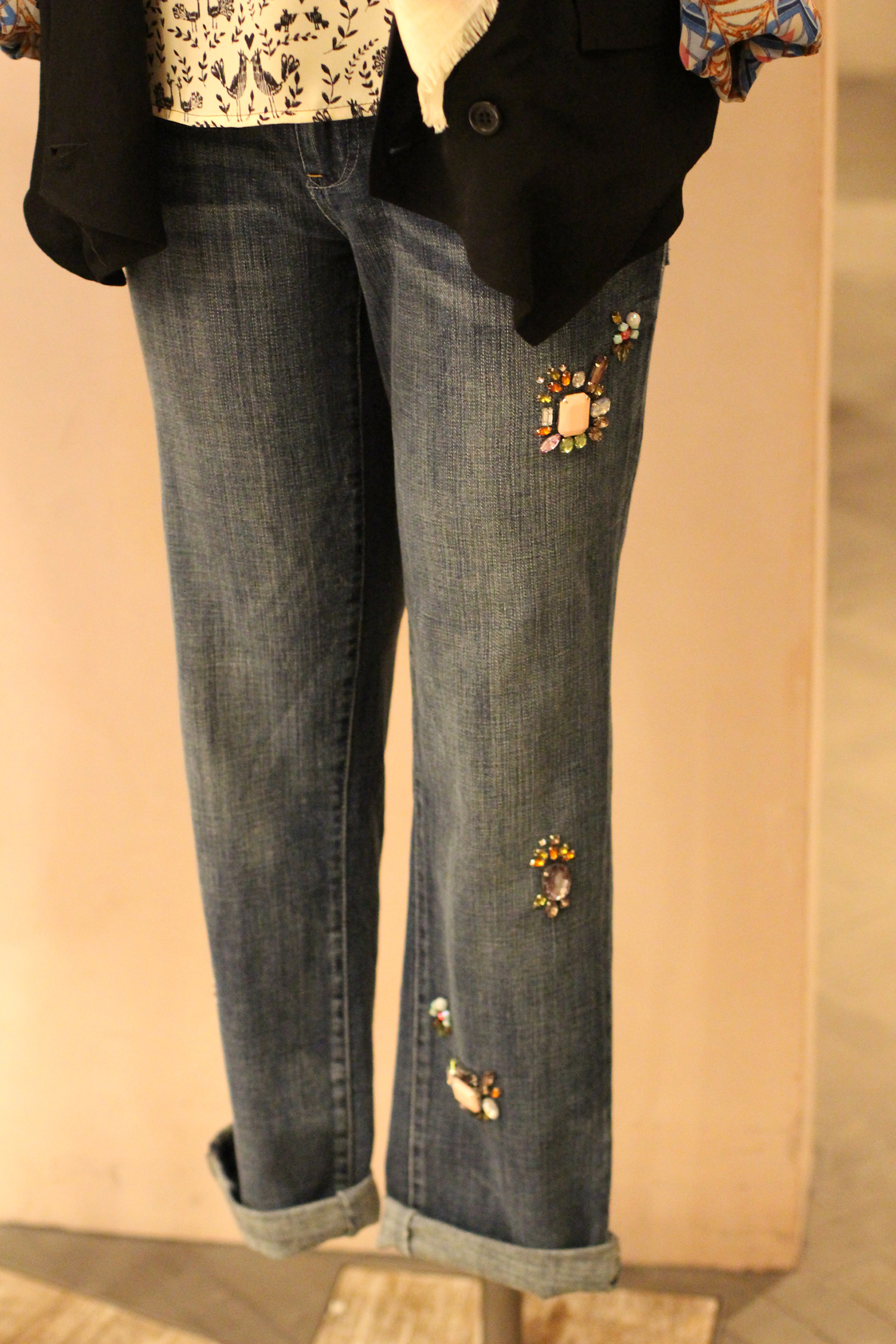 anthropologie jewelled denim jeans