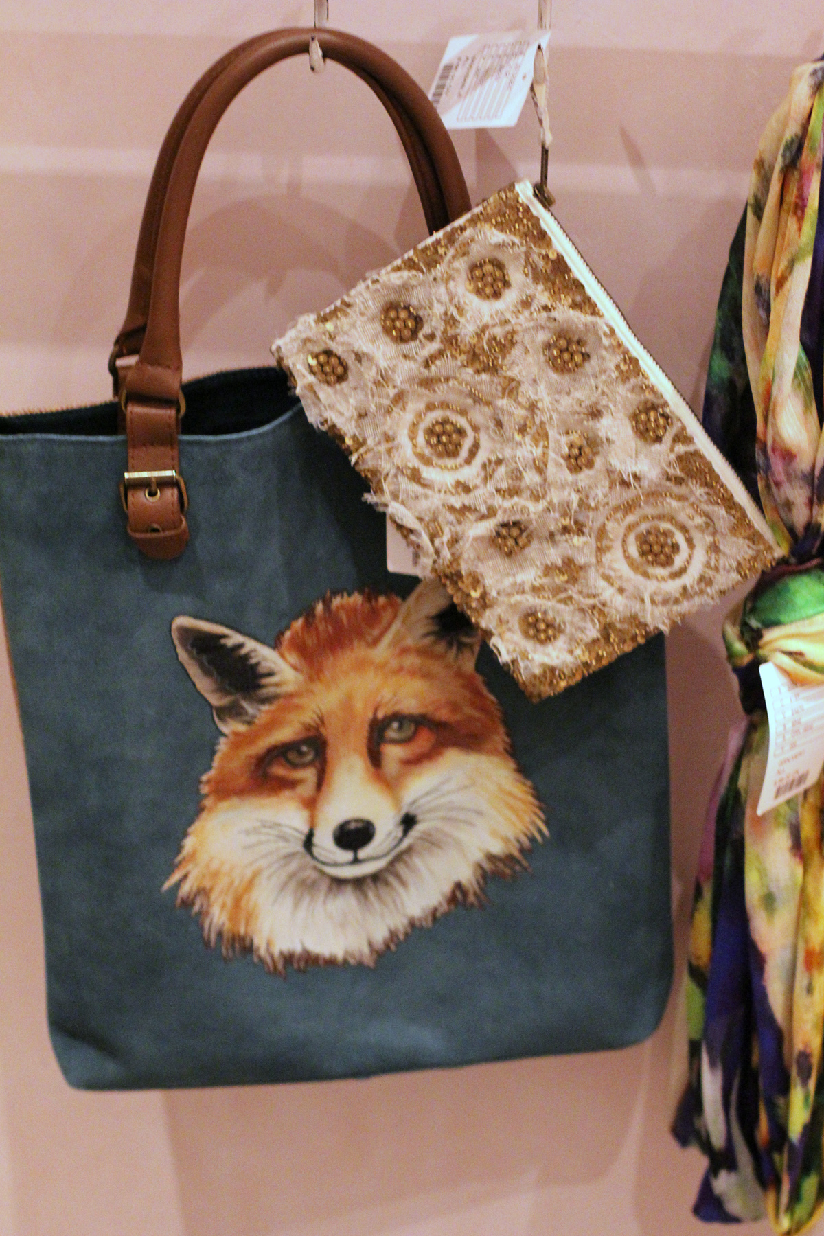 fox print anthropologie tote