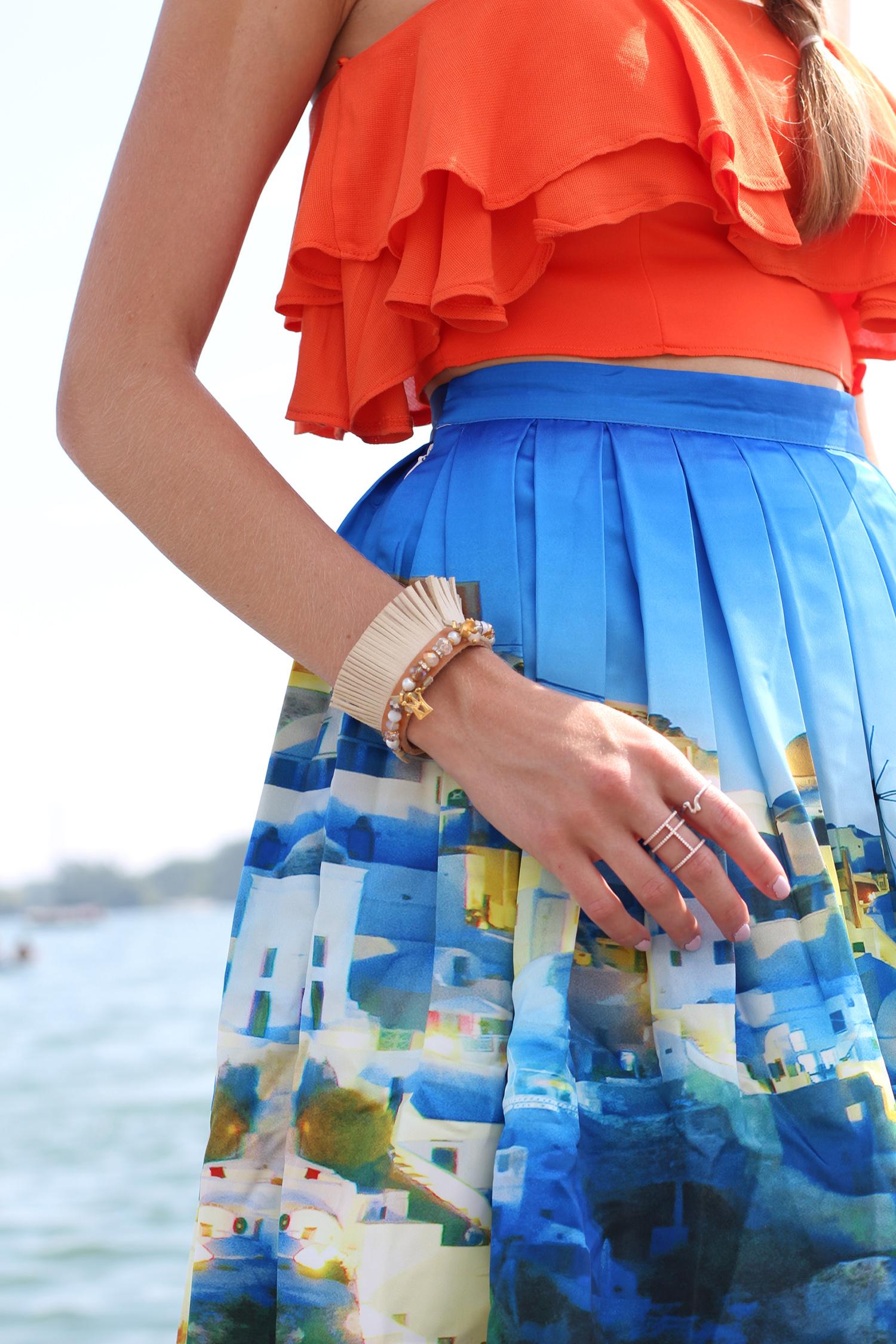 greece print skirt leather bracelet