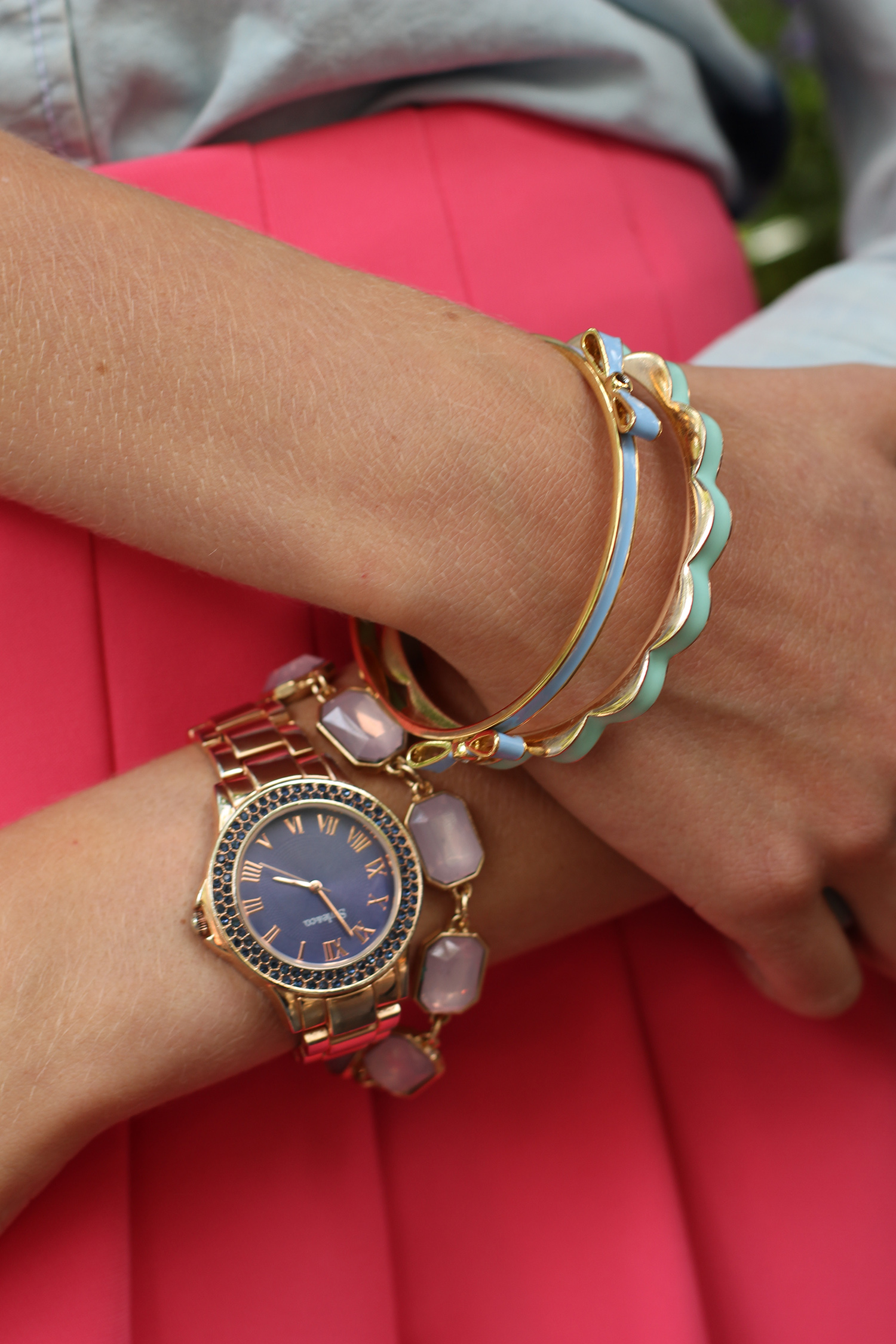 pastel bangles rosegold watch