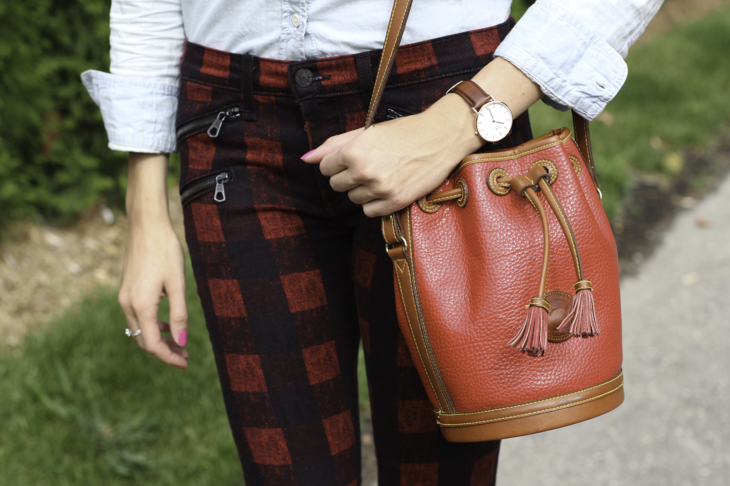 vintage dooney and bourke red bucket bag