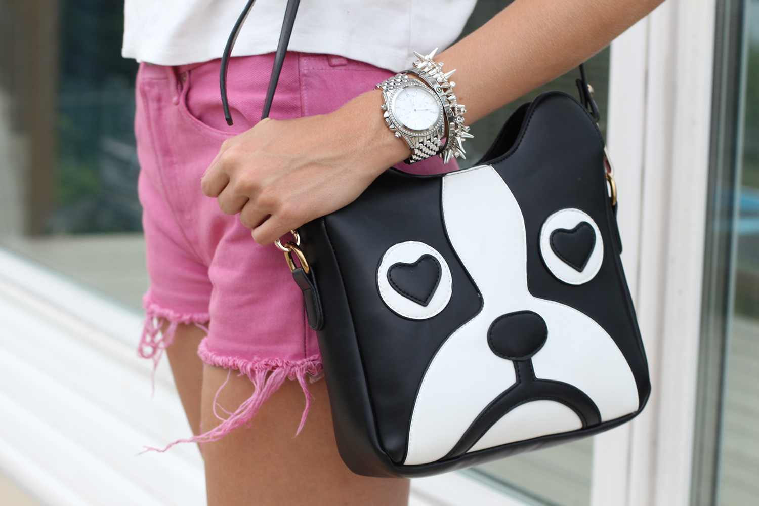 bulldog purse pink levi 501 shorts