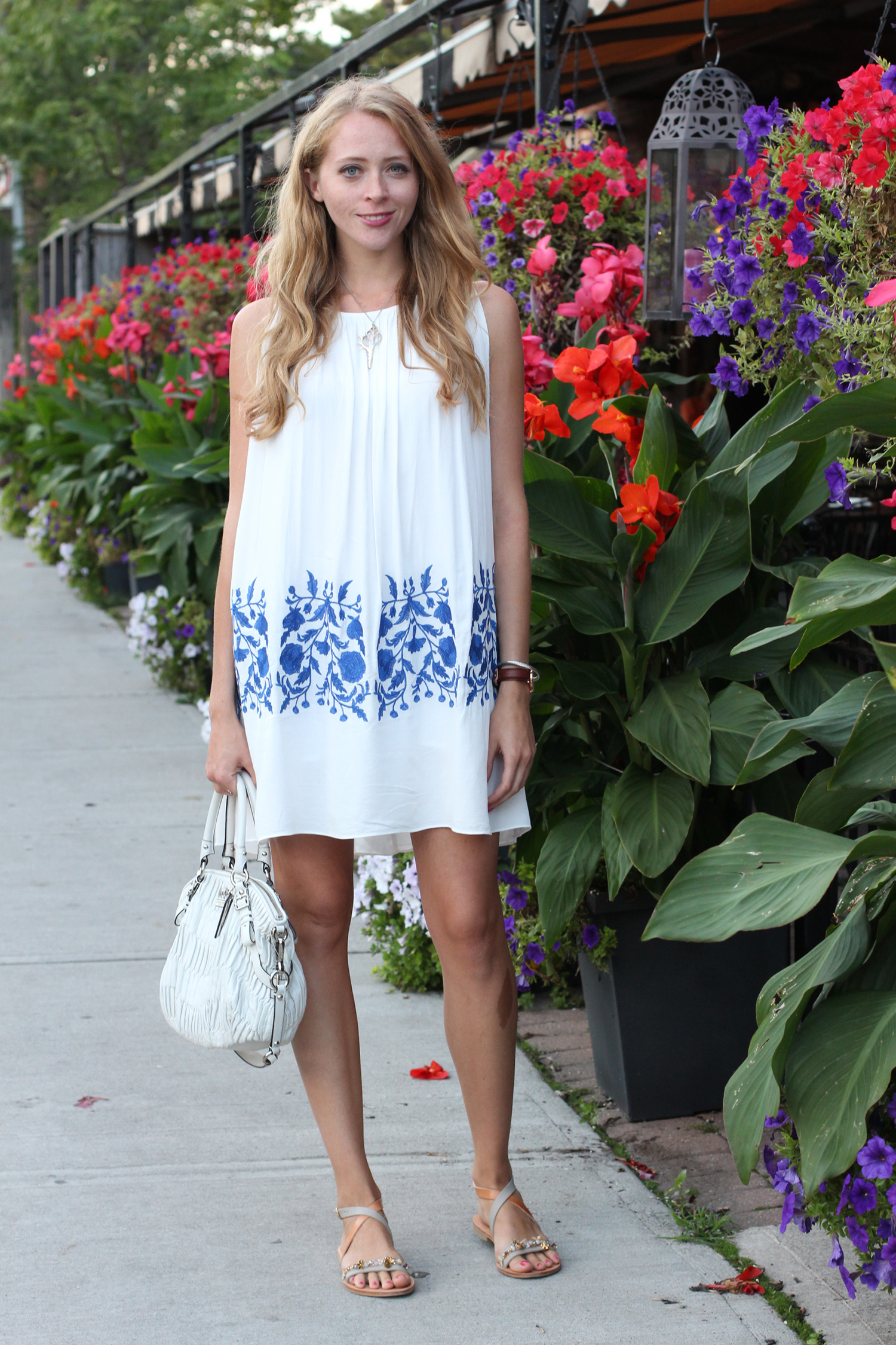 white and blue embroidery chicwish dress