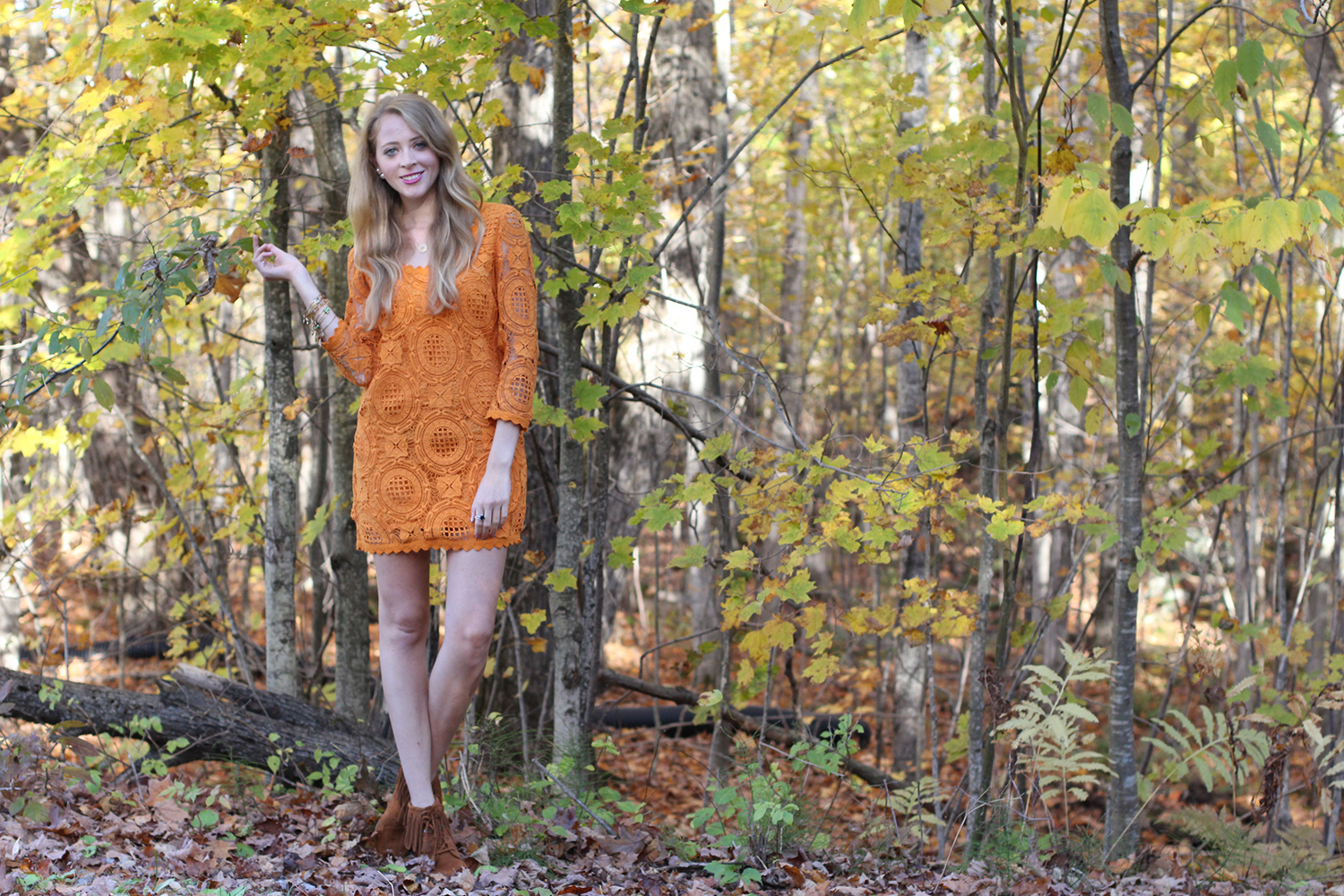 orange lace dress fall outfit
