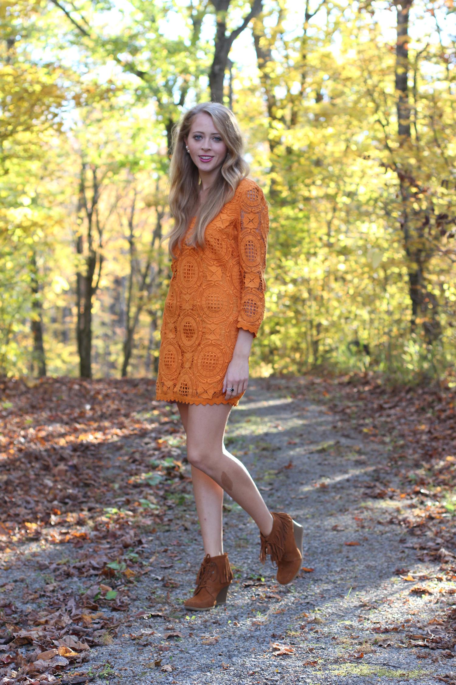 orange lace fcuk dress fringe booties