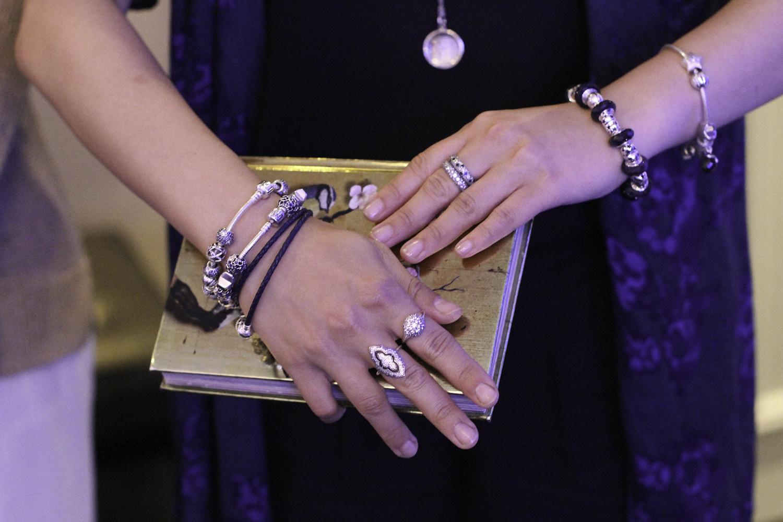 stacked pandora charm bracelets rings