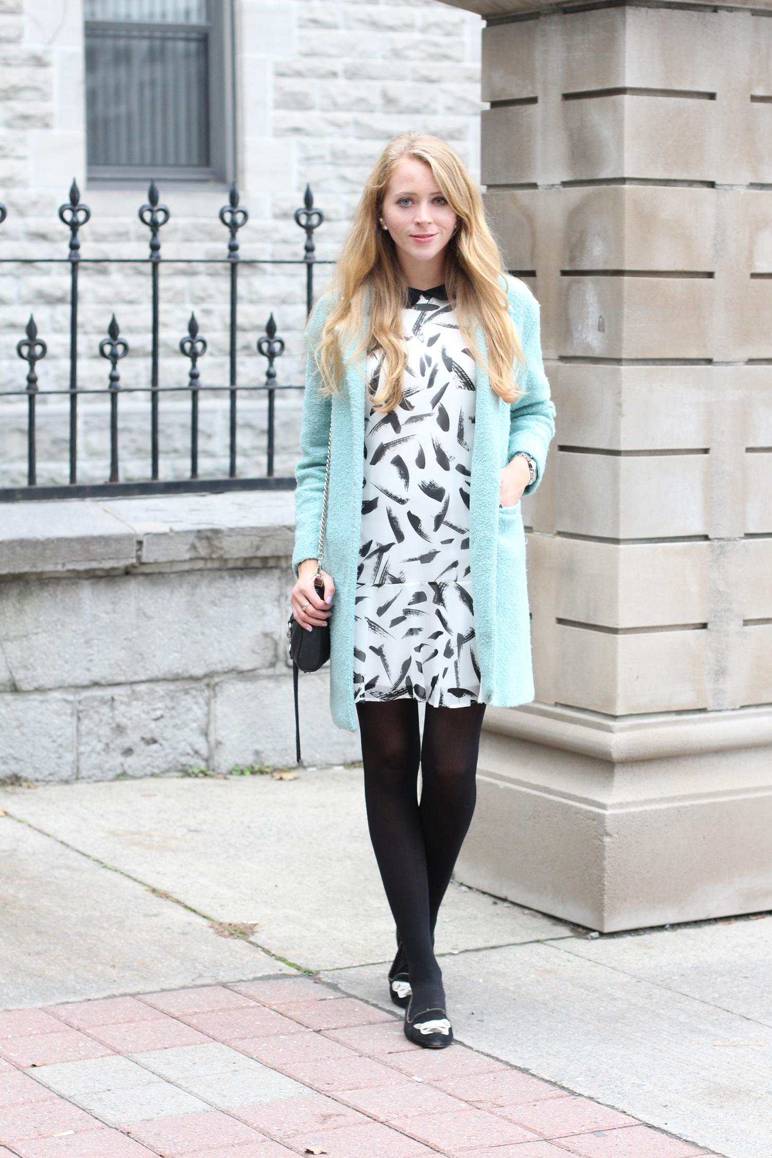blue coat brushstokes print dress