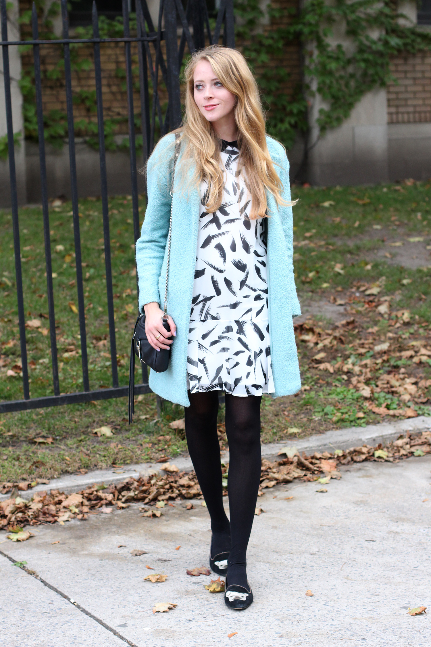 light blue coat brushstroke dress