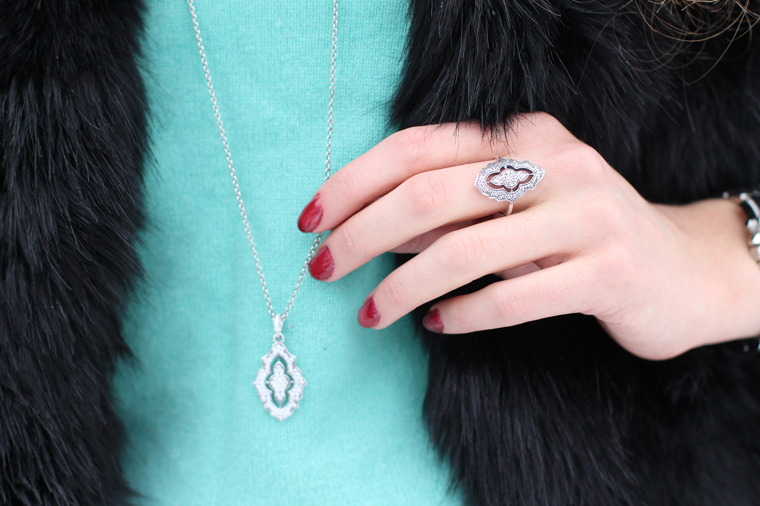 pandora winter 2014 sparkling lace ring necklace