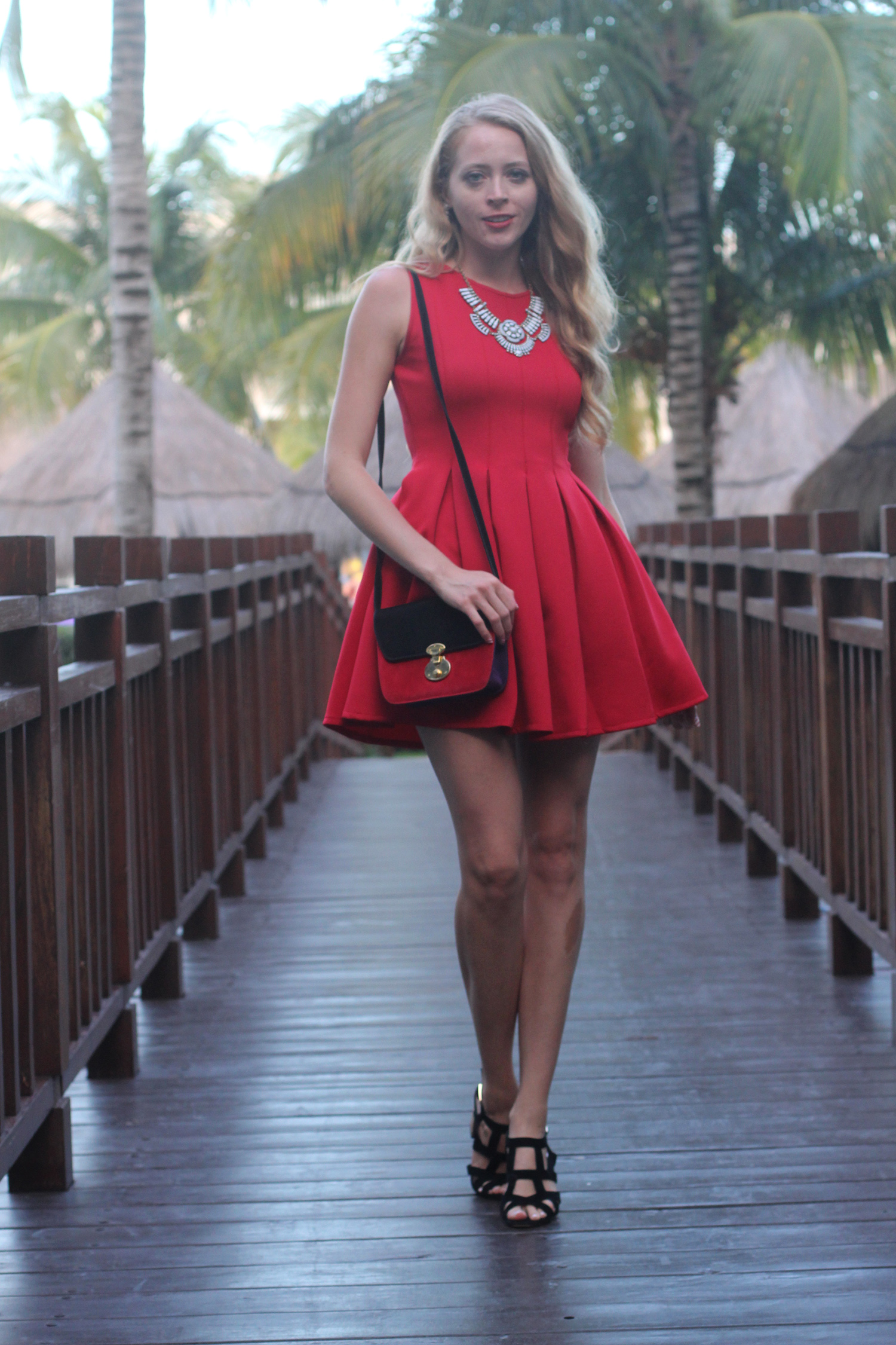 red neoprene dress