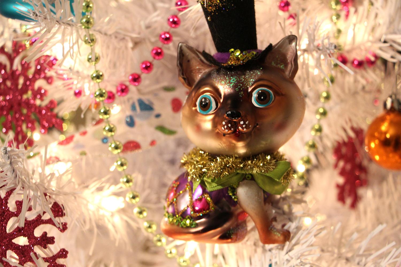 vintage cat christmas ornament