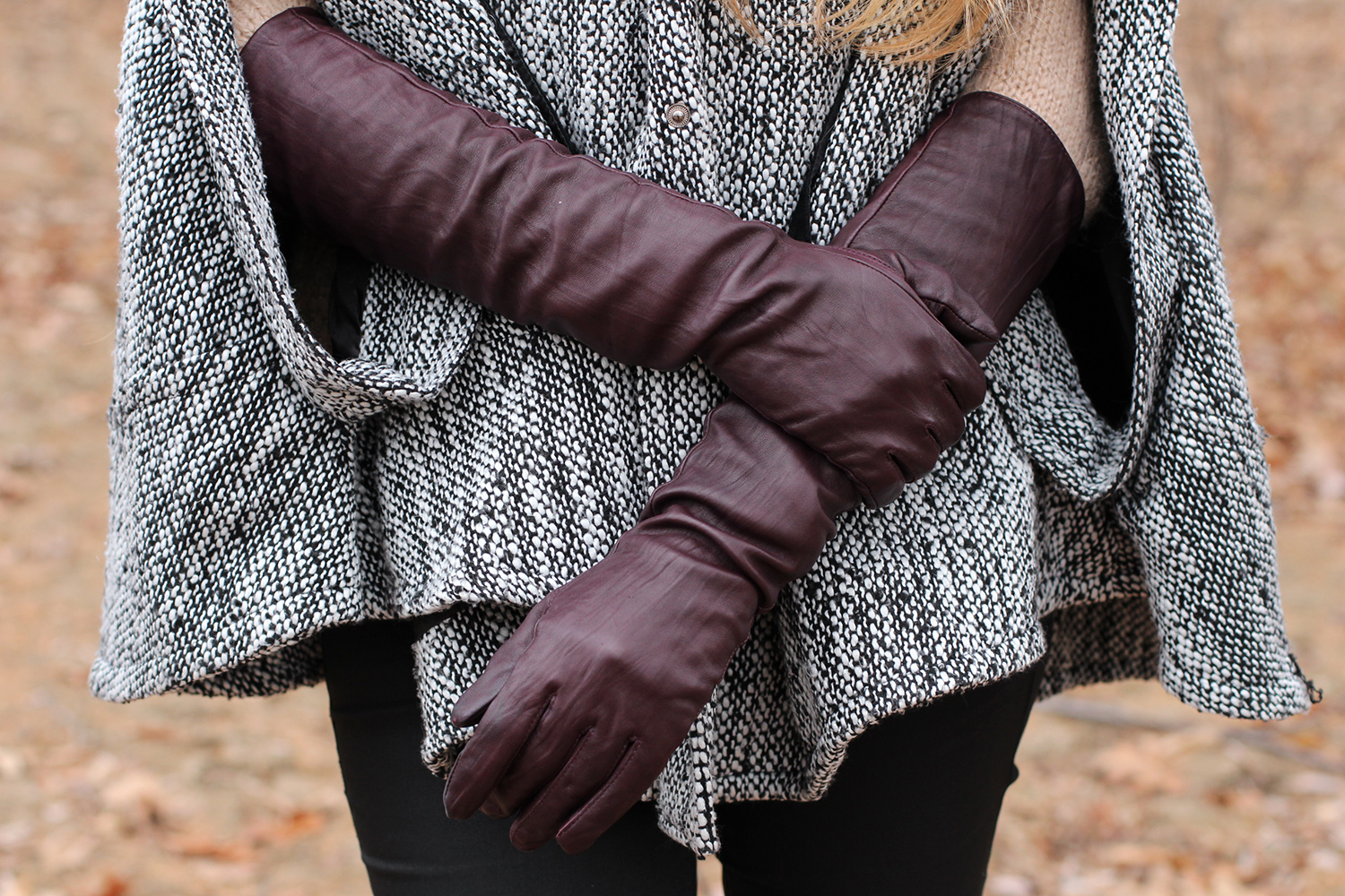 club monaco long leather gloves
