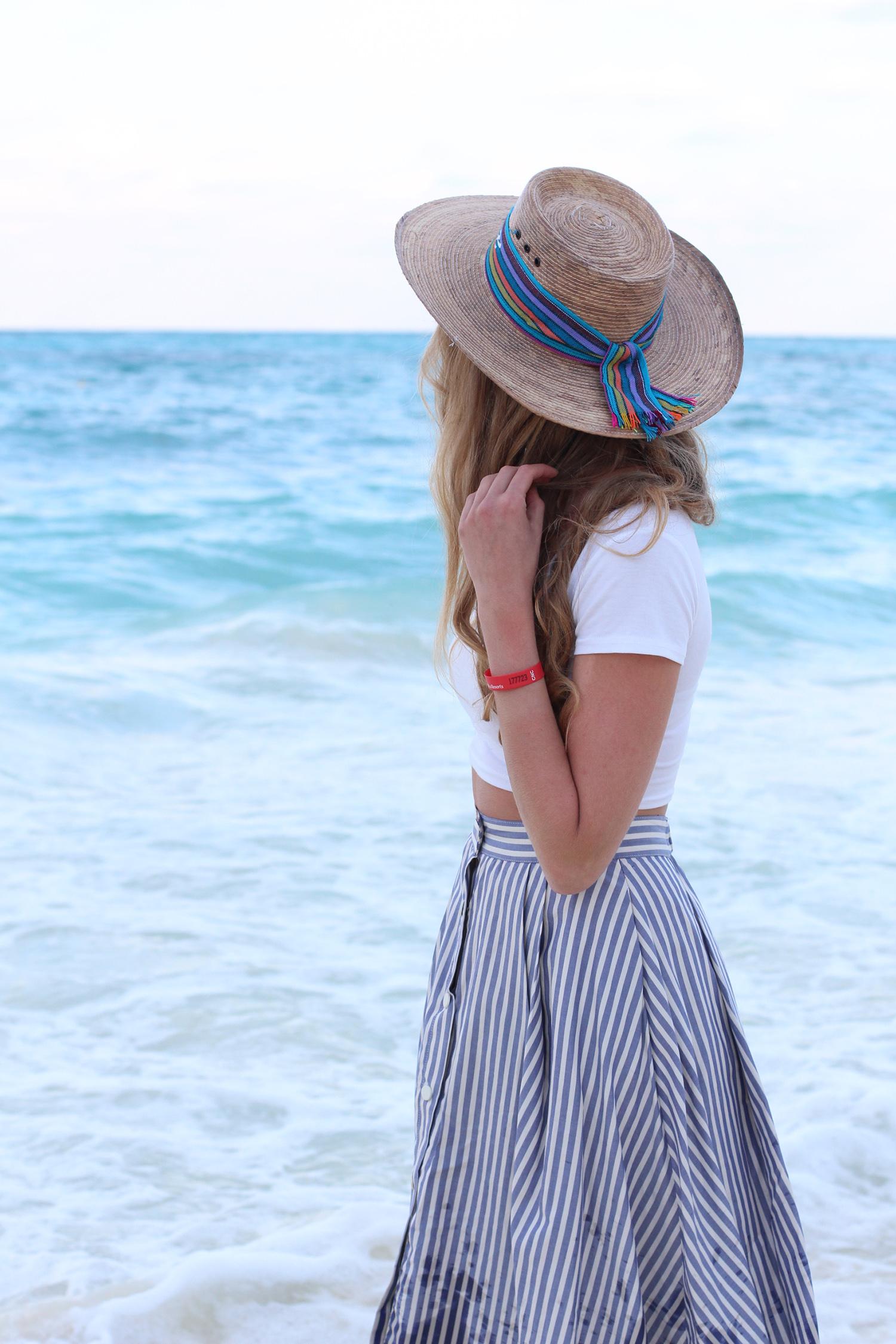 straw hat seersucker skirt