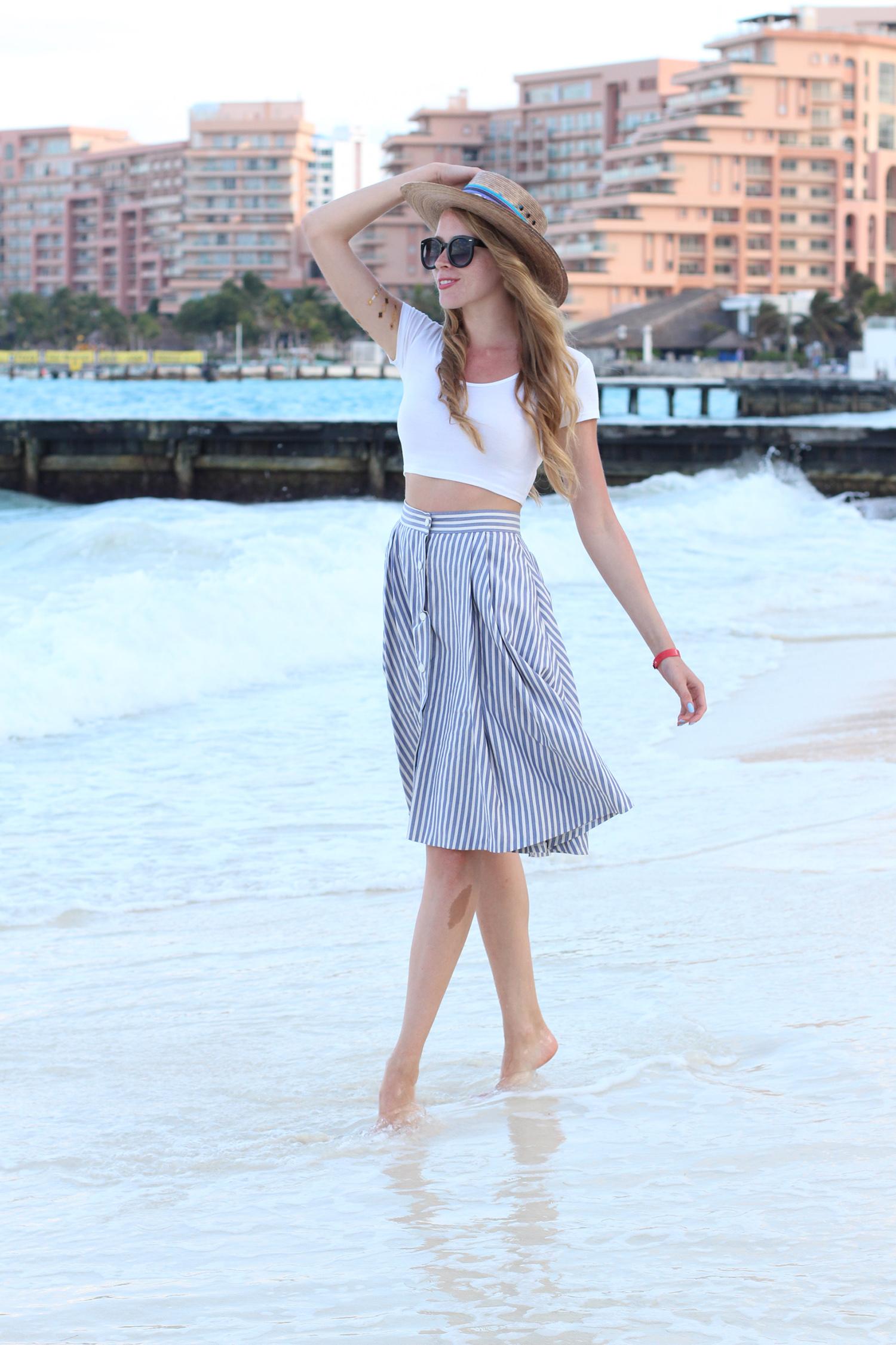 white crop top midi skirt