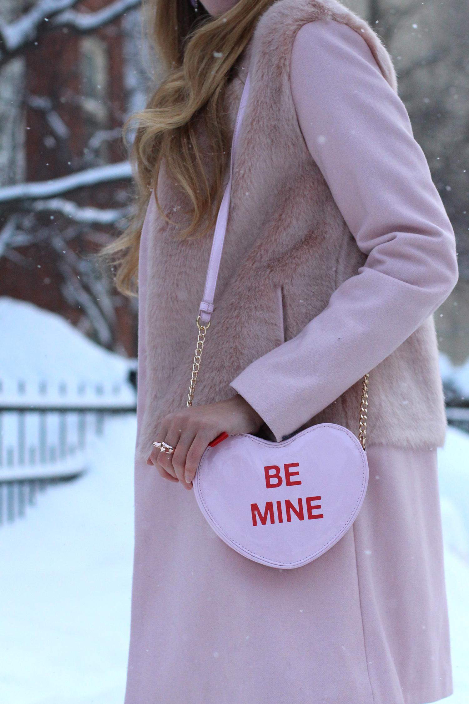 zara pink coat conversation heart clutch