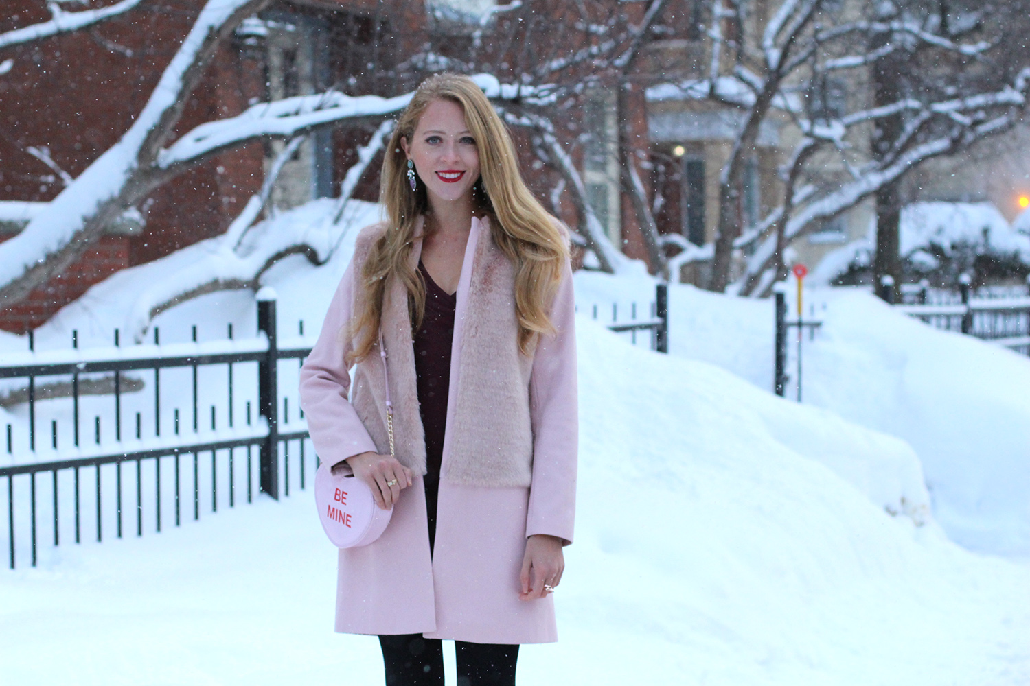 zara pink faux fur coat valentines day outfit