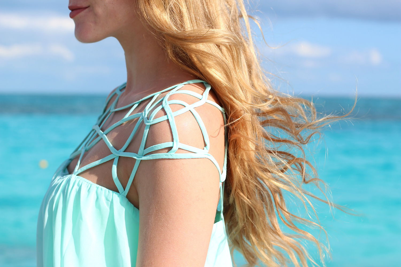 mint cage chiffon dress