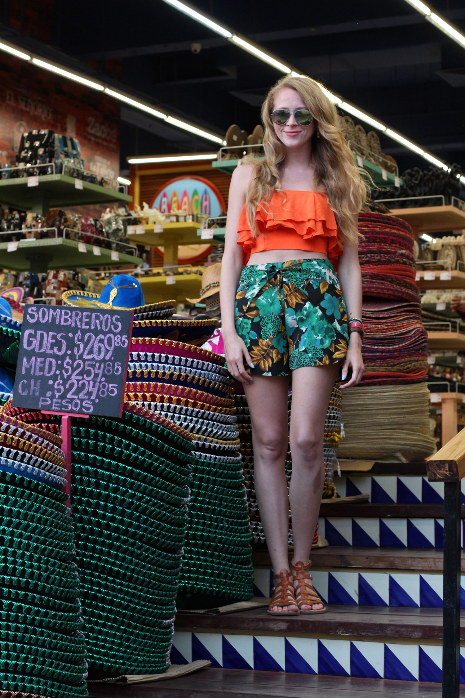 orange crop top floral shorts