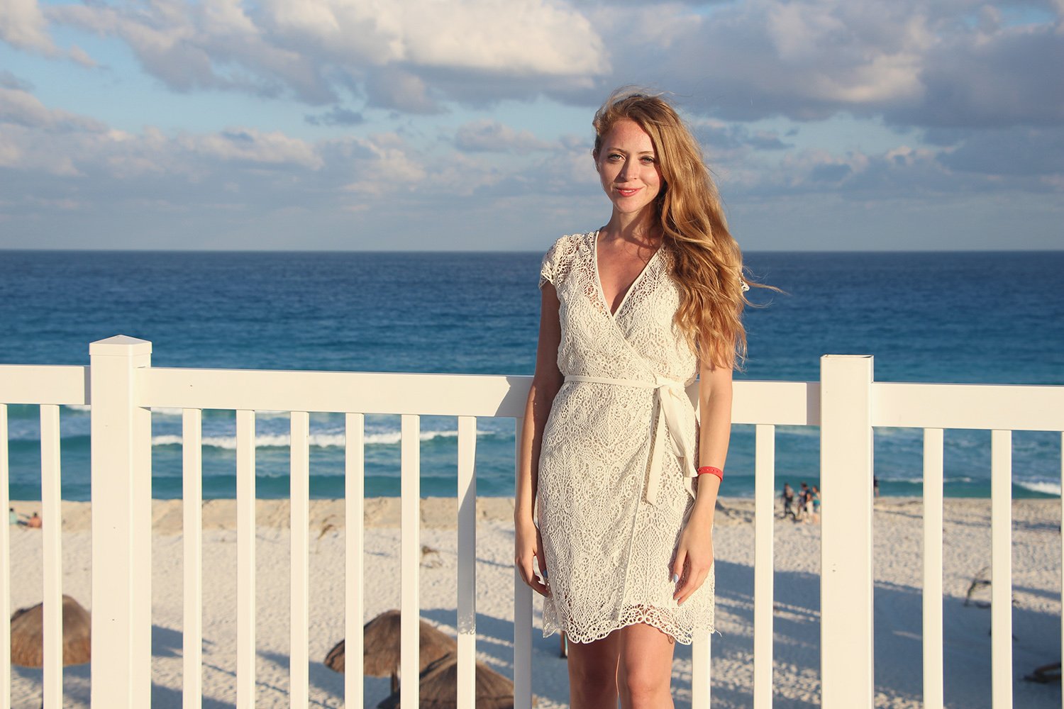 playa delfines white lace dress
