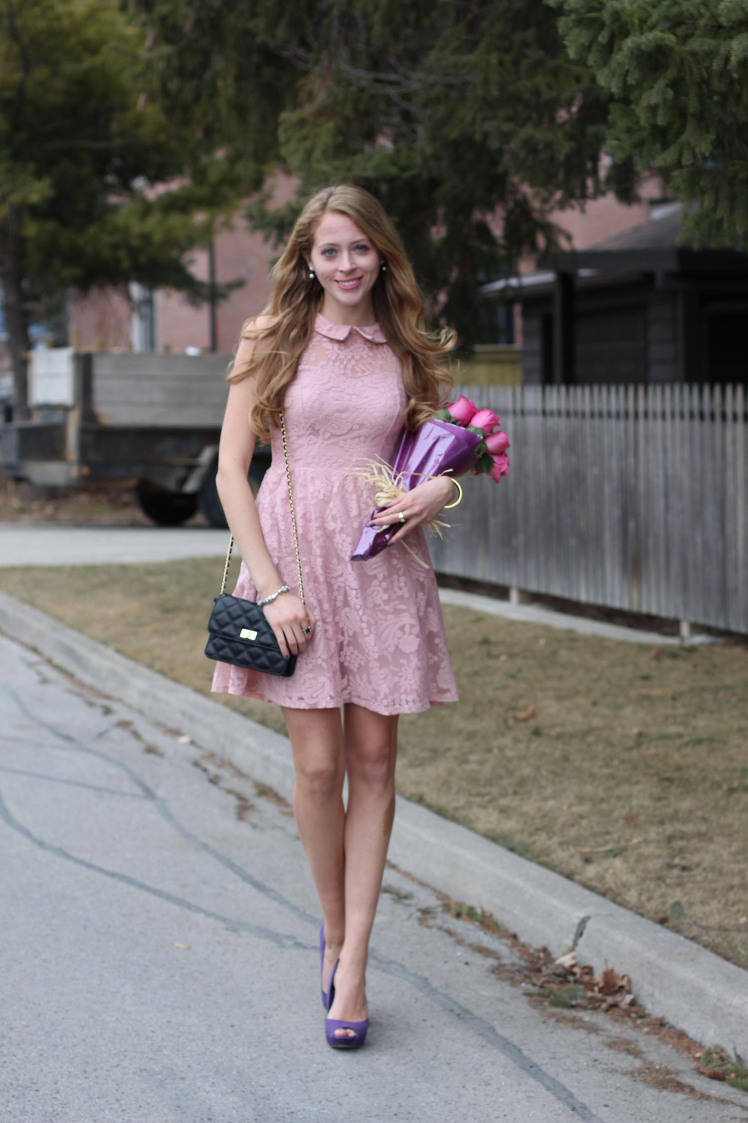 light pastel pink lace dress