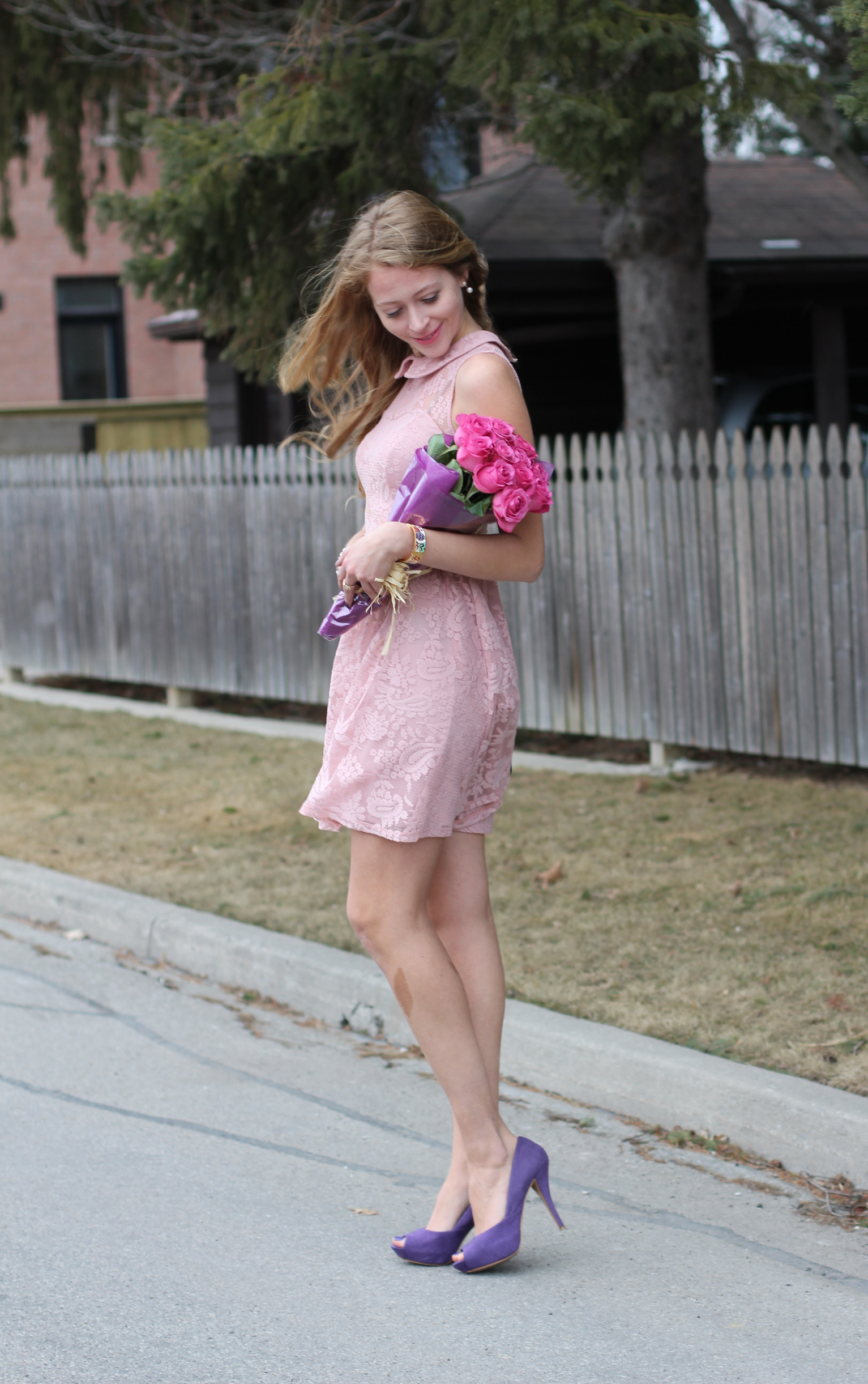 pink lace dress and roses