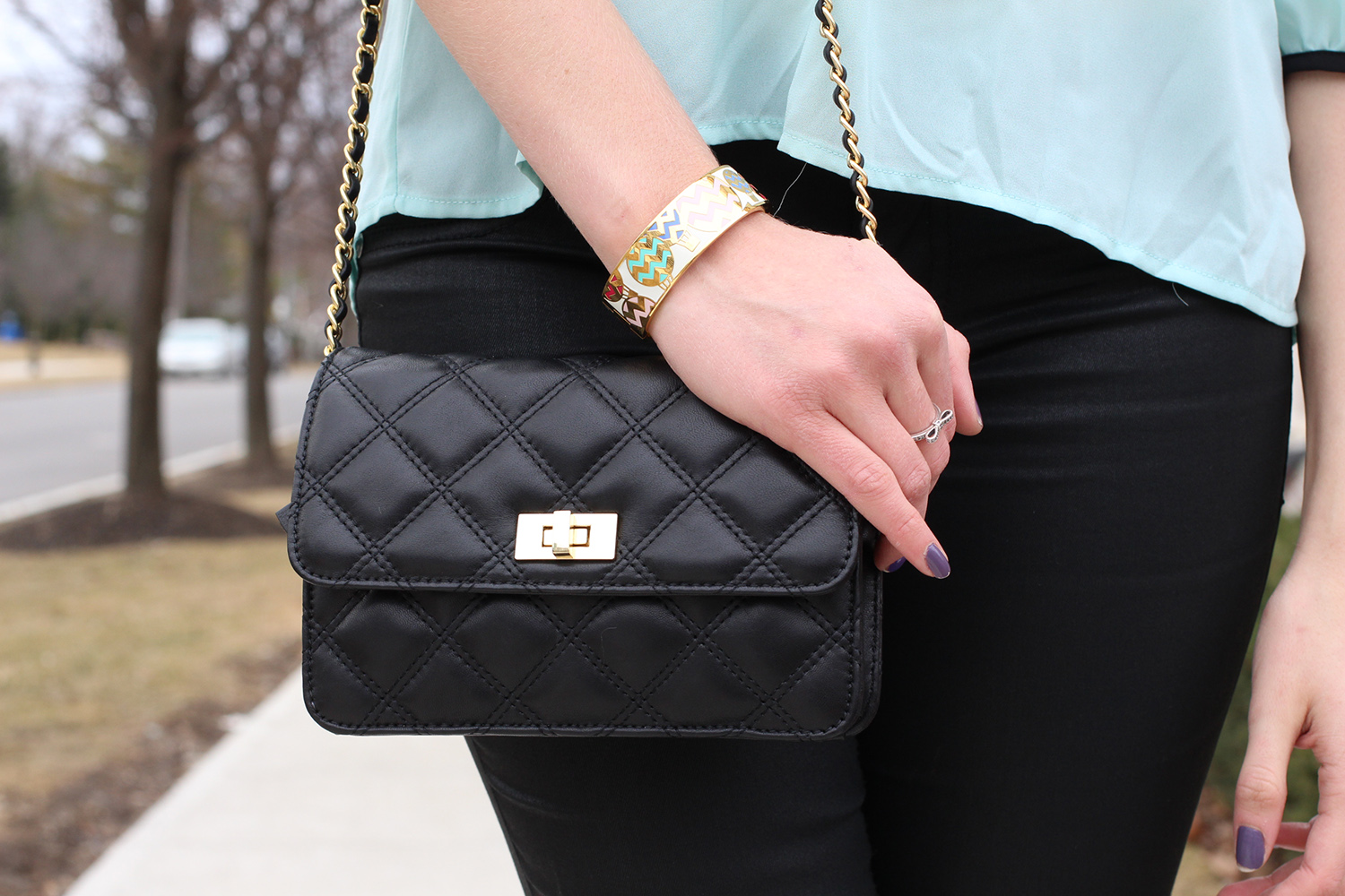 saks fifth avenue leather quilted woc