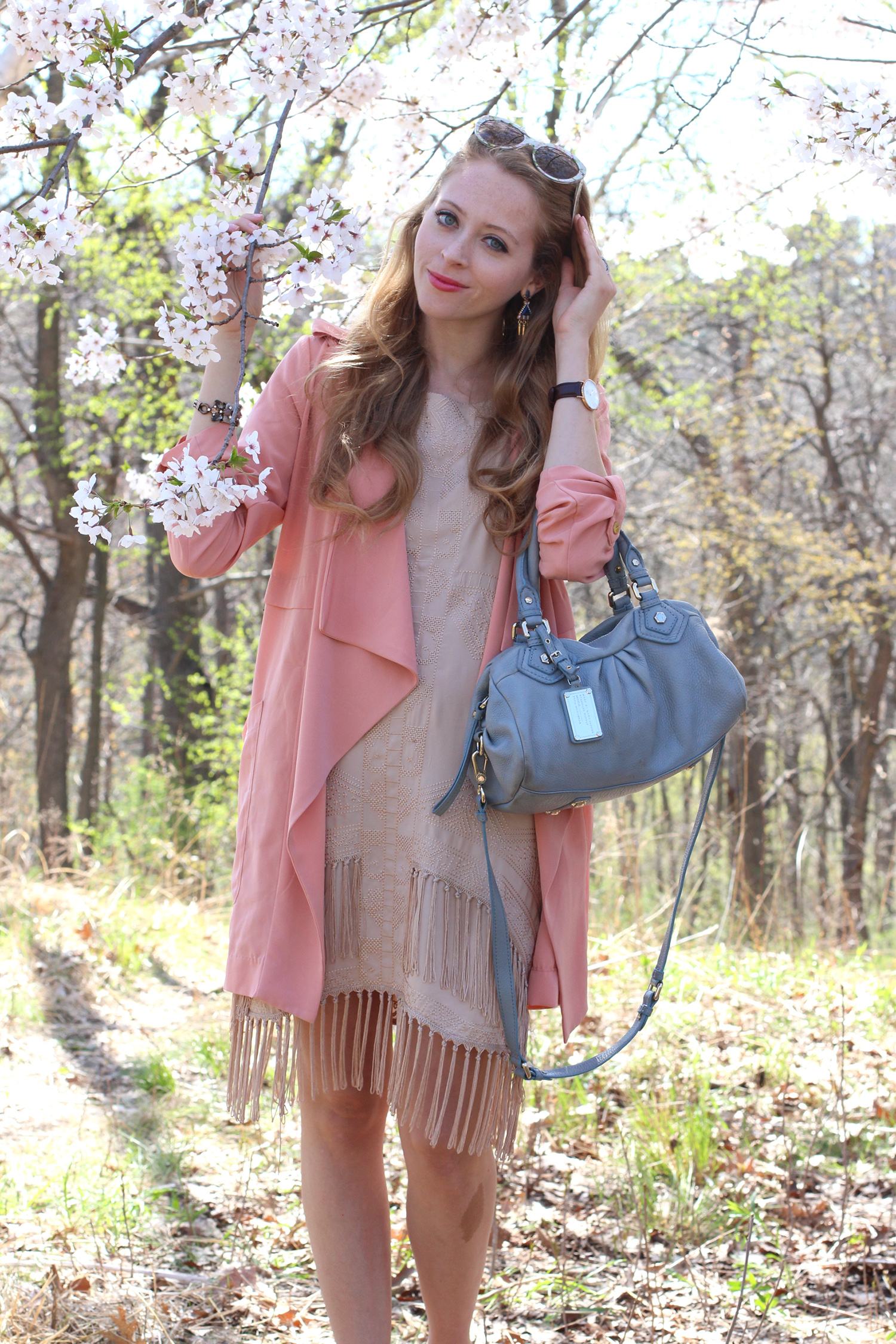 pink waterfall trench coat fringe dress