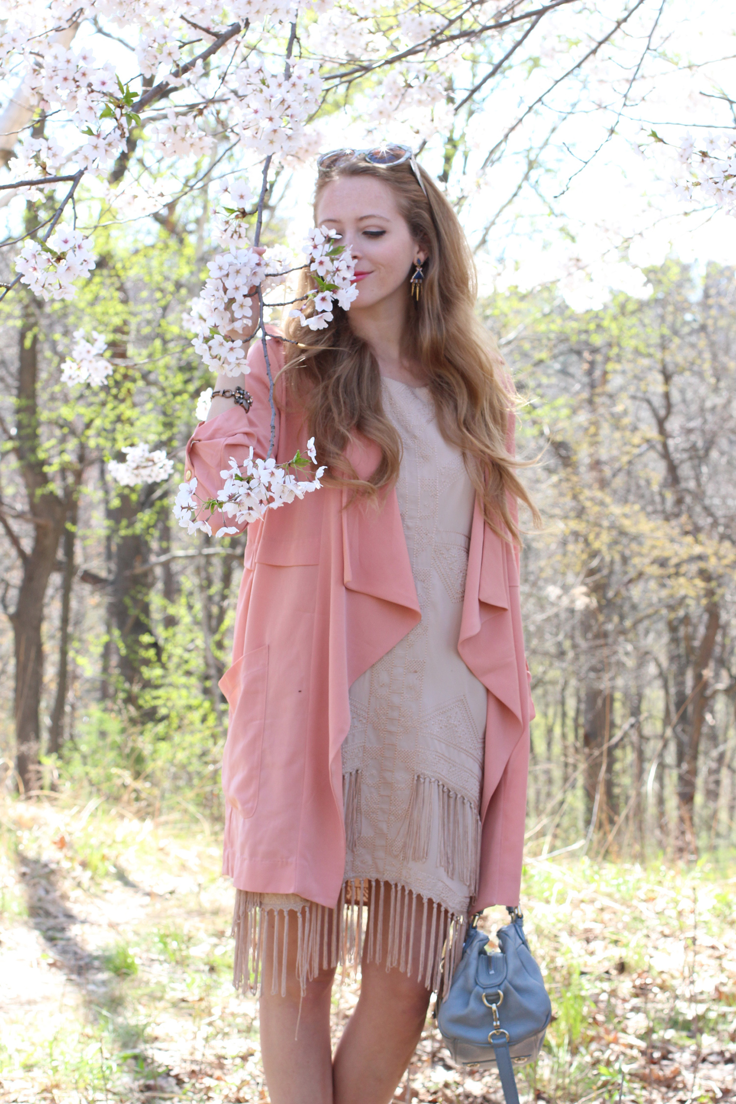 spring outfit waterfall trench coat