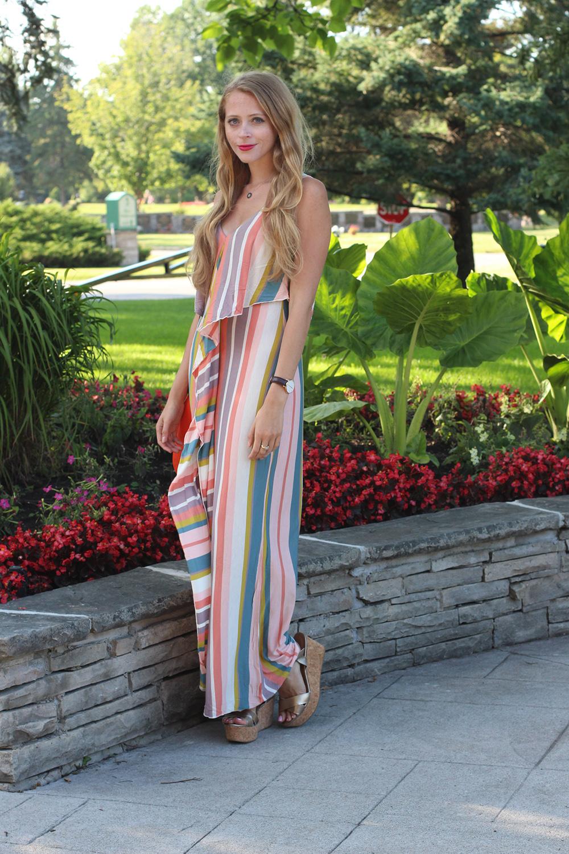 oneill striped ruffle maxi dress
