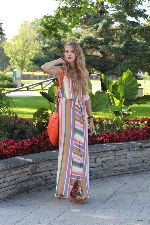 pastel striped maxi dress