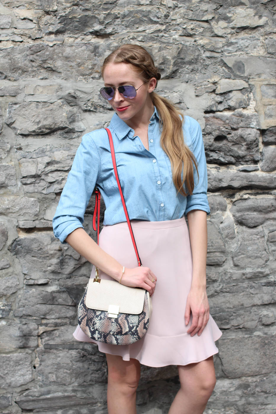 chambray shirt with pink skirt (10 of 11)