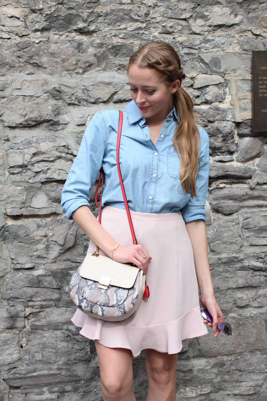 chambray shirt with pink skirt (9 of 11)