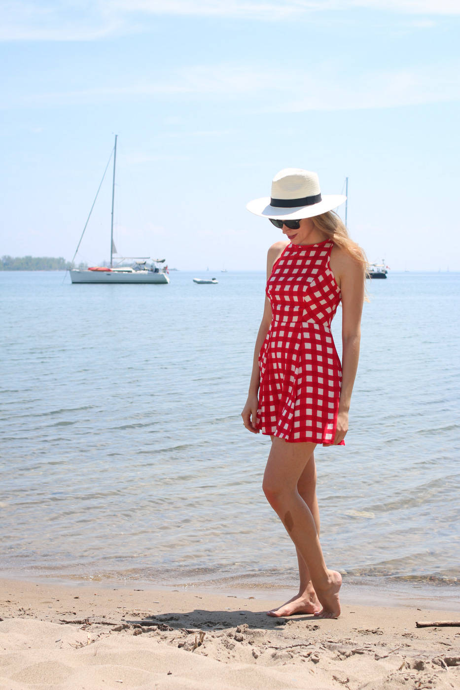 design lab red gingham dress